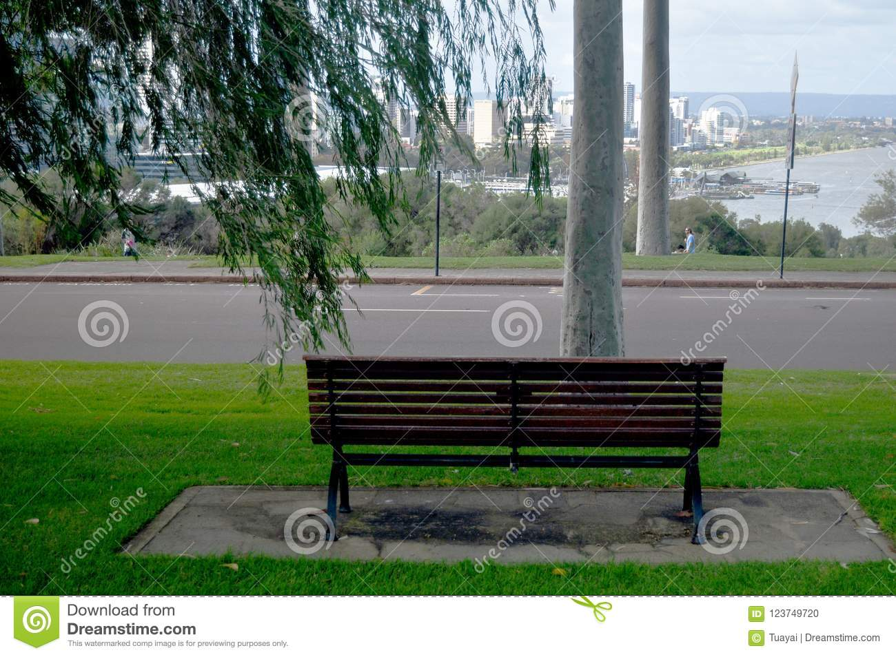 Pleasant Wooden Bench In Garden At Viewpoint Of Kings Park And Caraccident5 Cool Chair Designs And Ideas Caraccident5Info