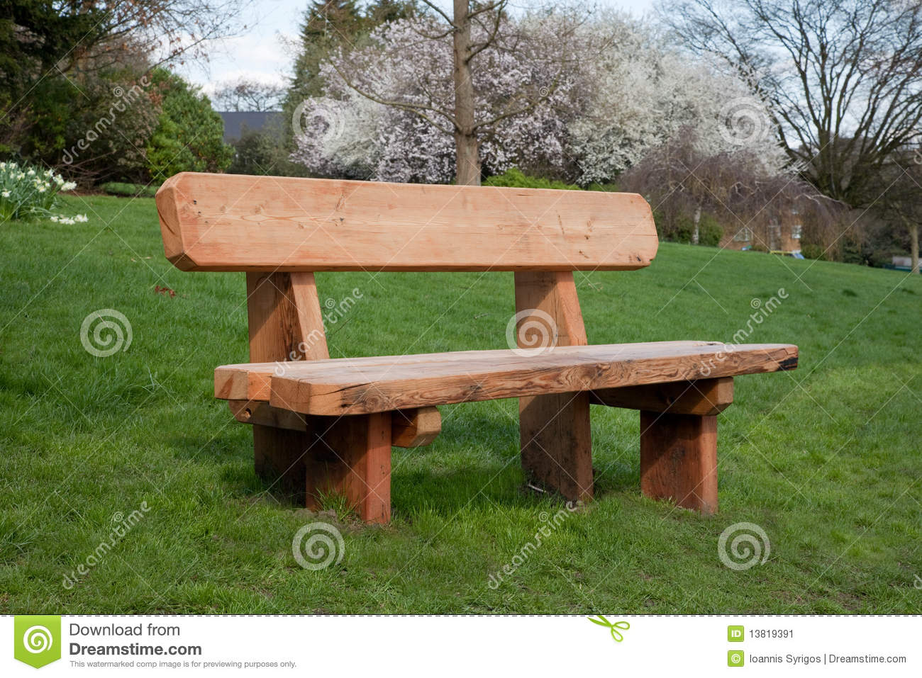 Wooden bench on grass stock image. Image of empty, grass ...