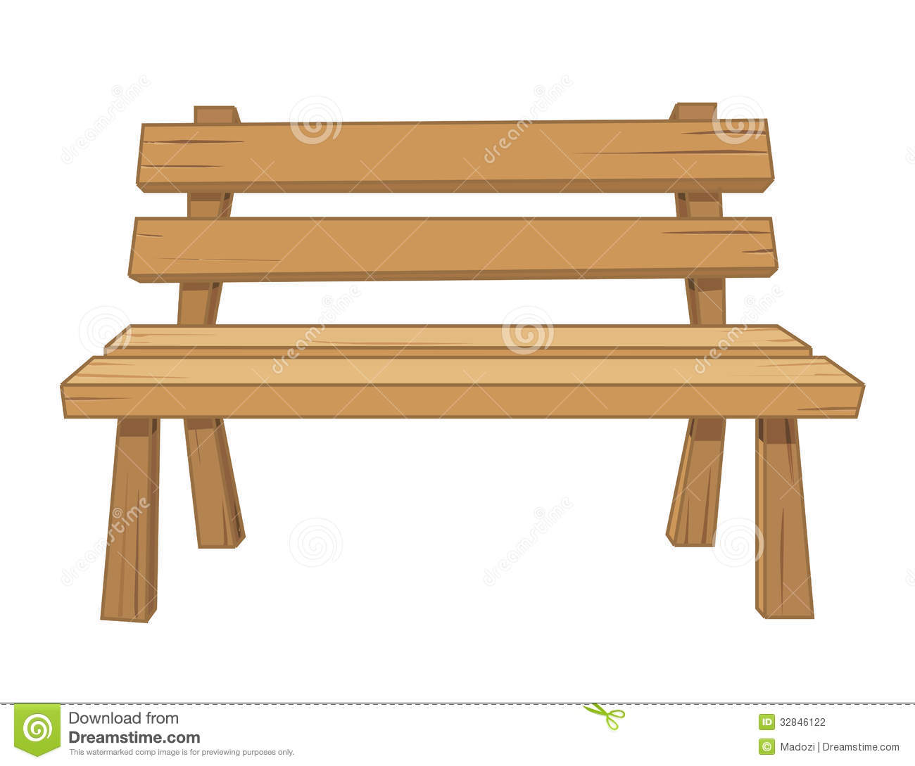 Wooden Bench Isolated Illustration Stock Photography - Image: 32846122