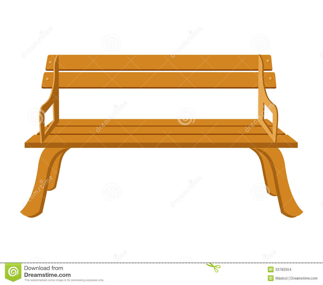 Lobby Bench Clip Art ~ Wooden bench isolated illustration stock vector