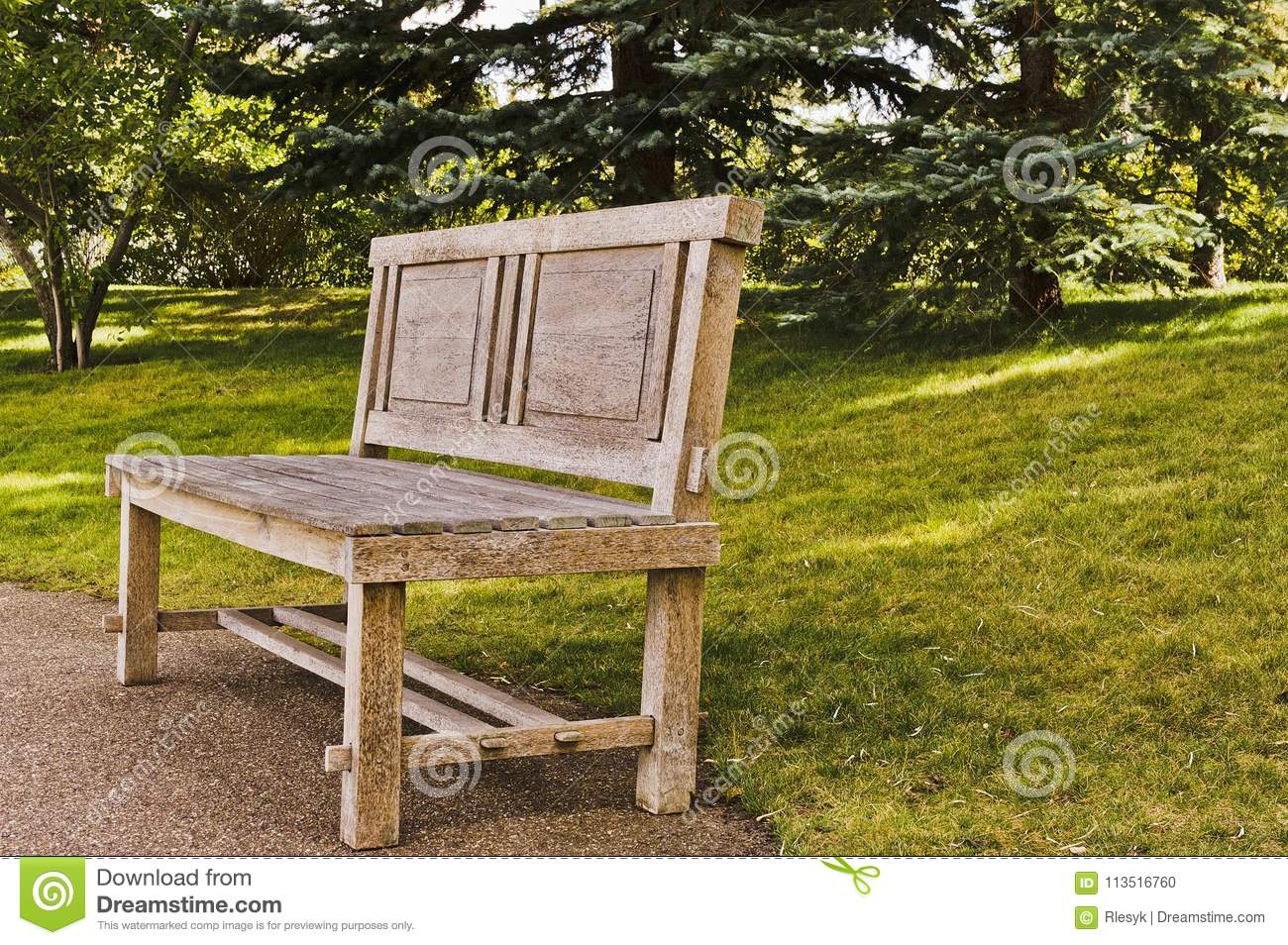 Incredible Wooden Handcrafted Bench In Japanese Garden Stock Photo Machost Co Dining Chair Design Ideas Machostcouk