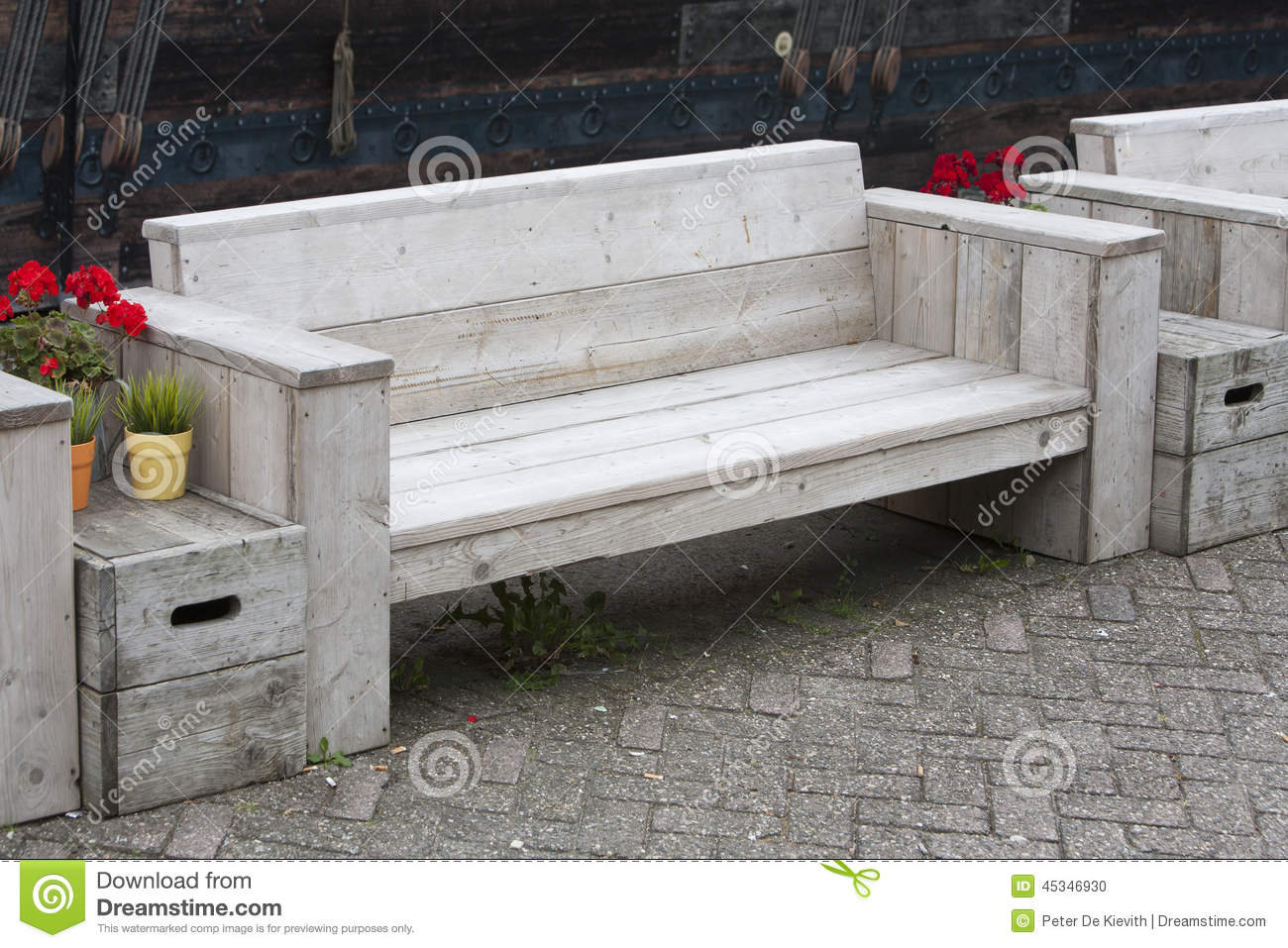 Garden Furniture Made From Scaffolding Planks wooden bench stock photo - image: 45346930