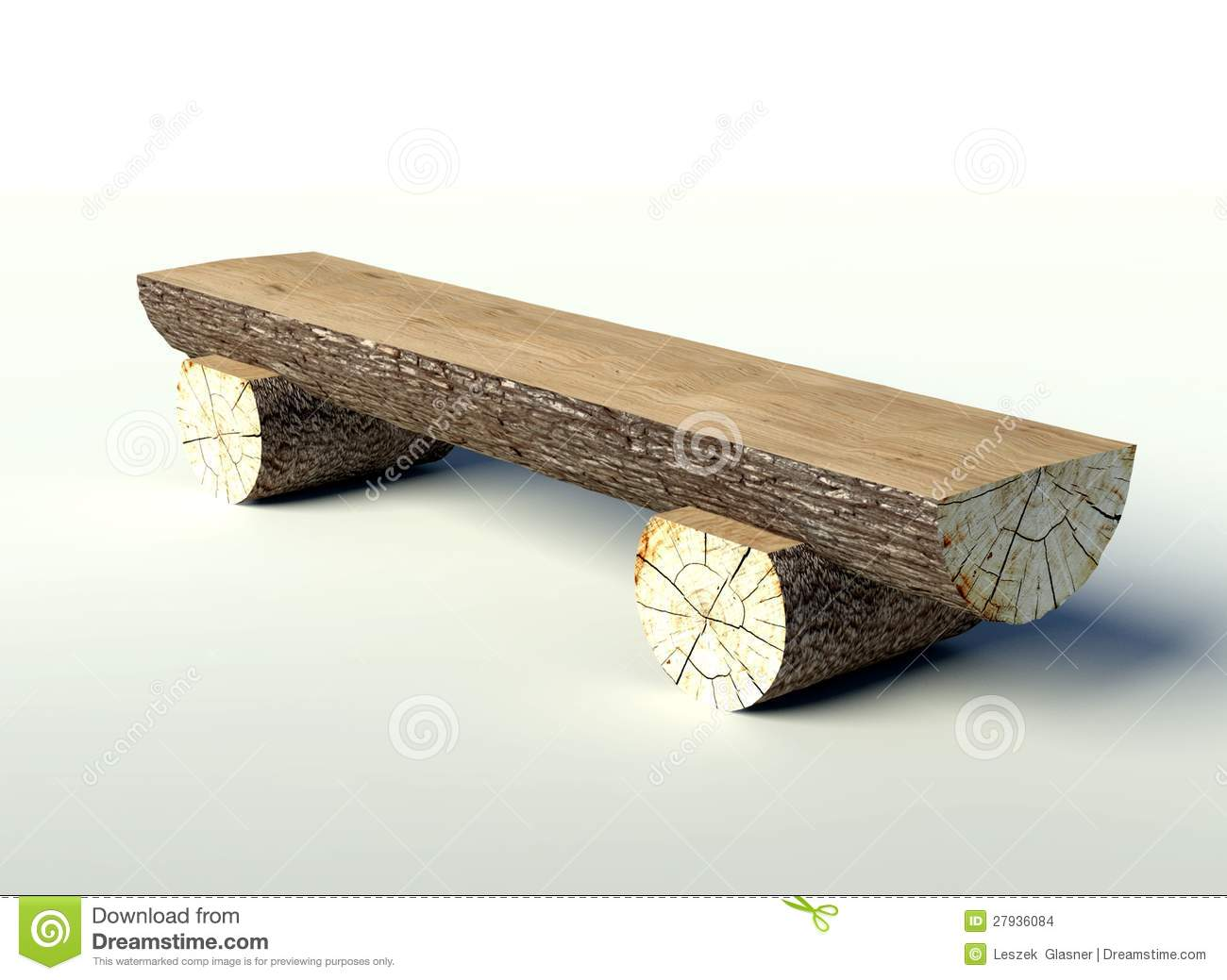 Wooden Bench Made Of Tree Trunks Stock Images Image 27936084