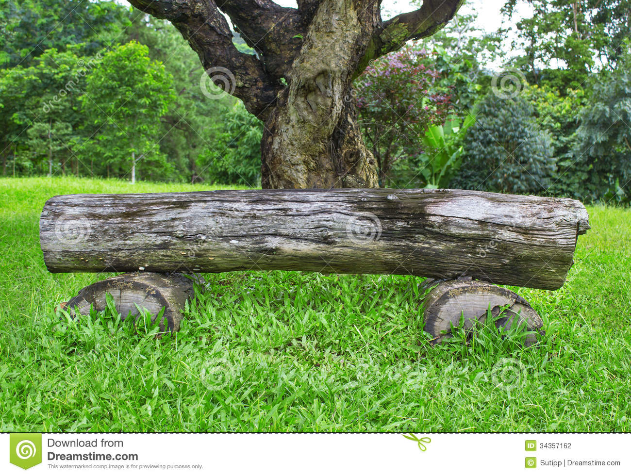 Stock Photo: Wooden bench and table made of tree trunks Images ...