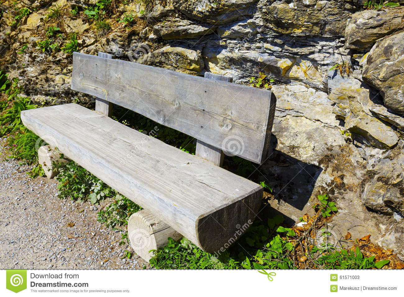 Wooden Bench Made Of Tree Trunks Stock Photo Image 61571003