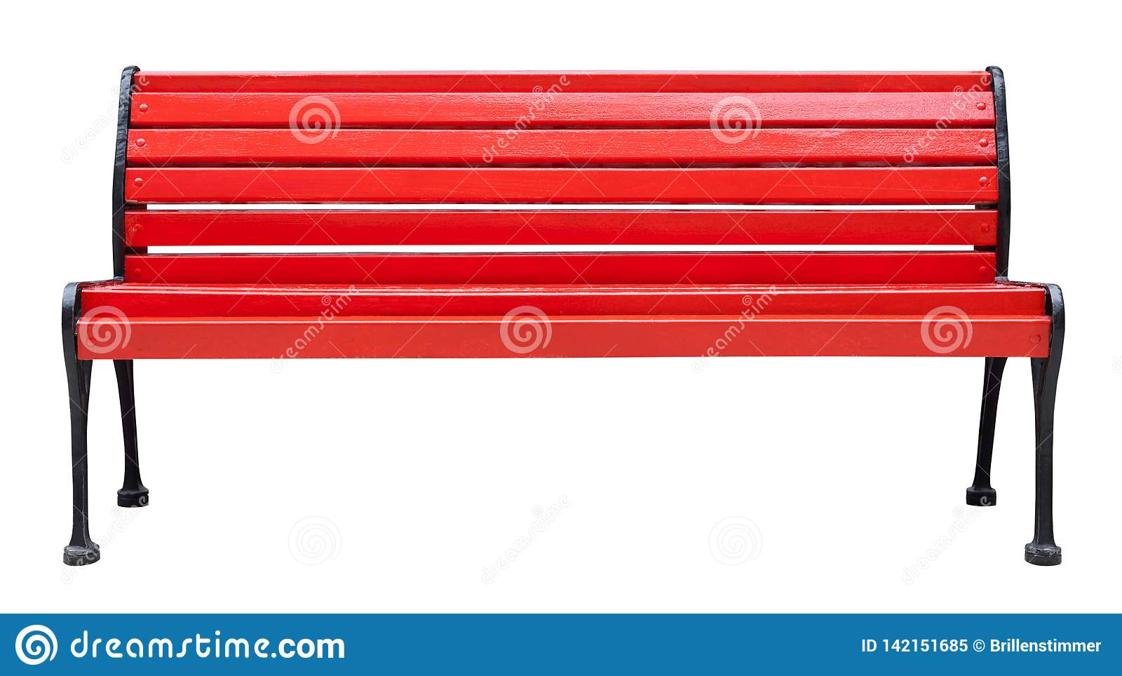 Wooden bench painted in red with metal legs, isolated on a white background design element