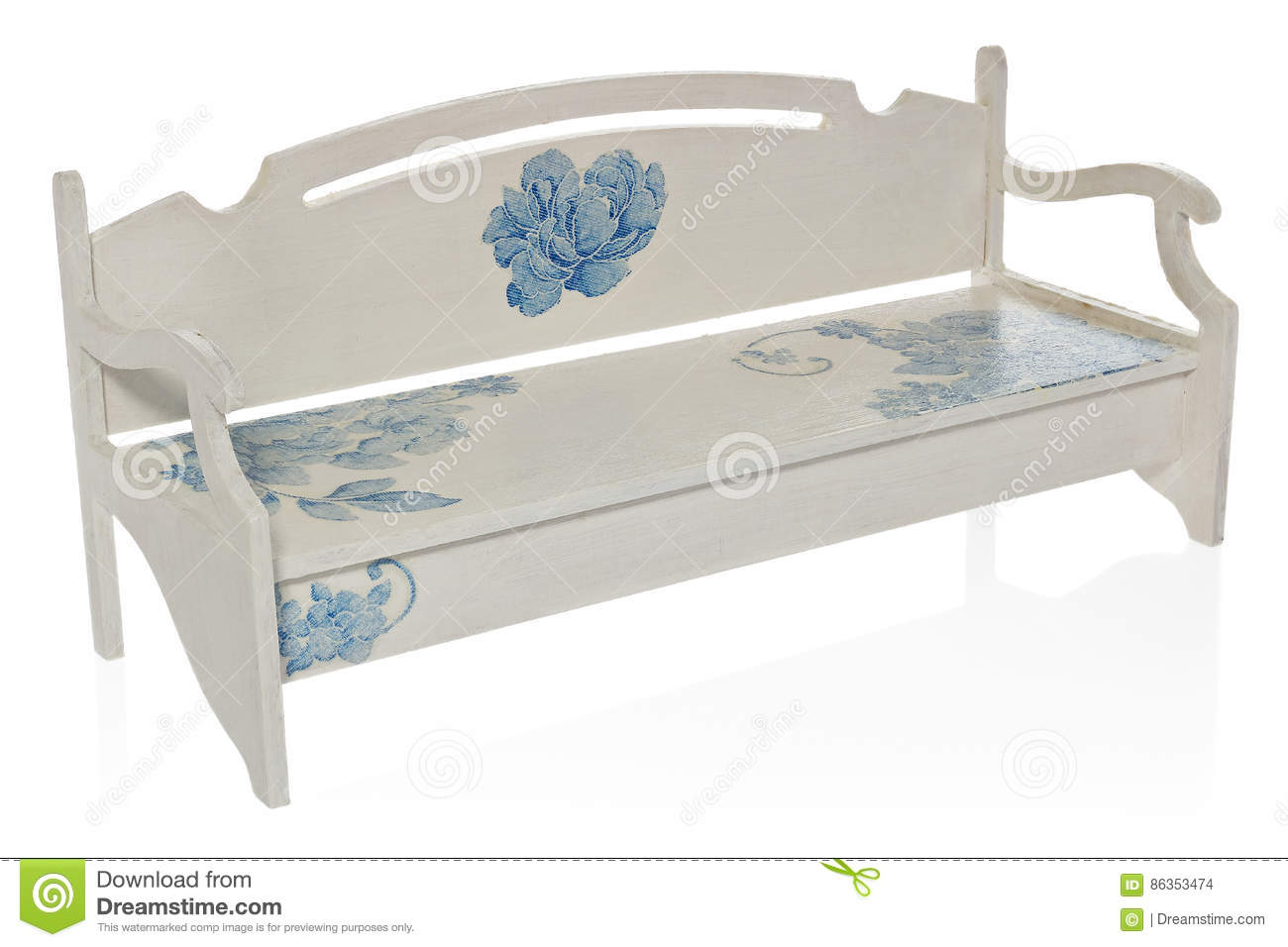Enjoyable The Wooden Bench Painted White With A Pattern Of Blue Andrewgaddart Wooden Chair Designs For Living Room Andrewgaddartcom