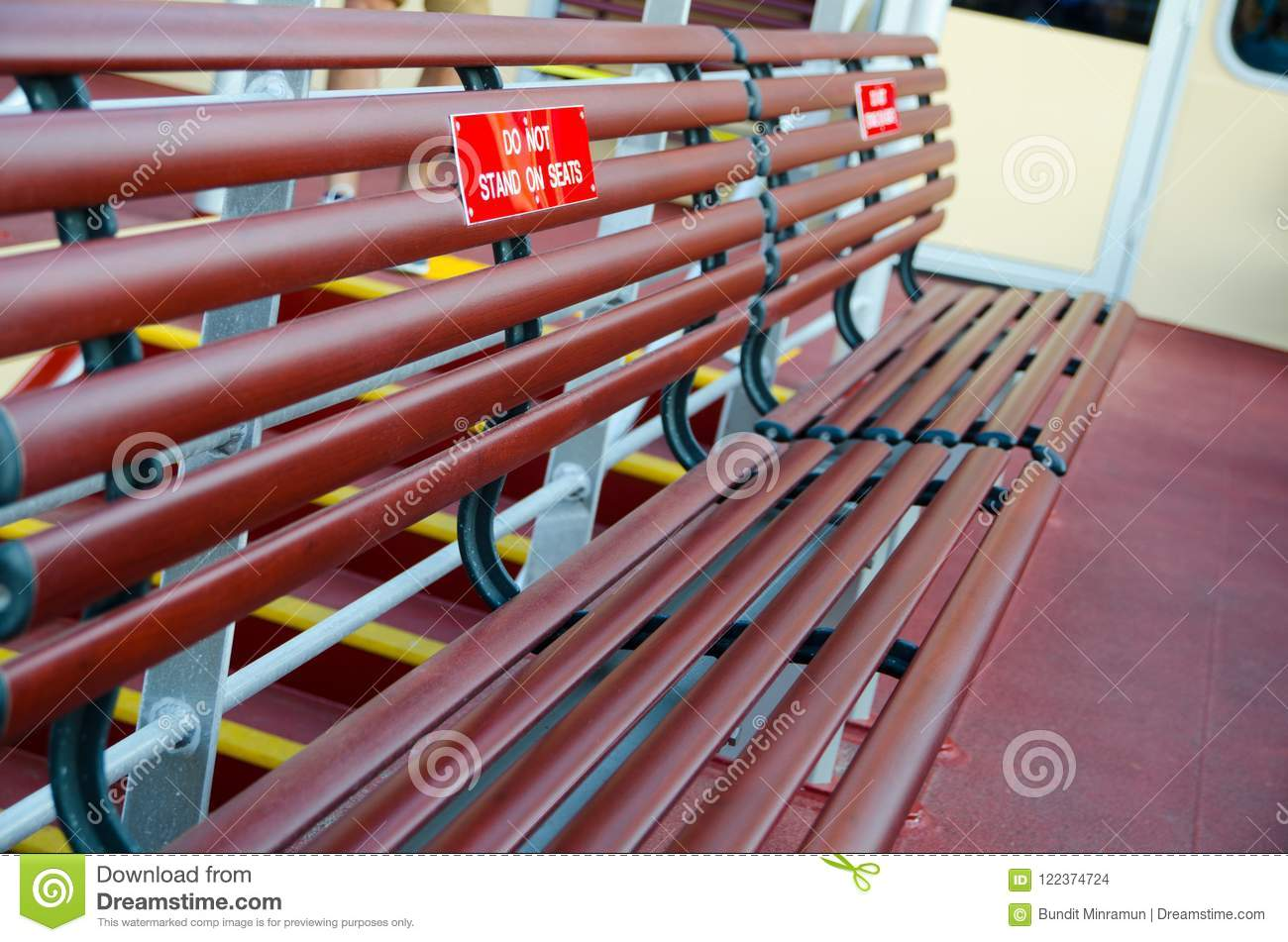 Marvelous Wooden Bench Seat On Boat Ferry Put On The Warning Sign For Pabps2019 Chair Design Images Pabps2019Com