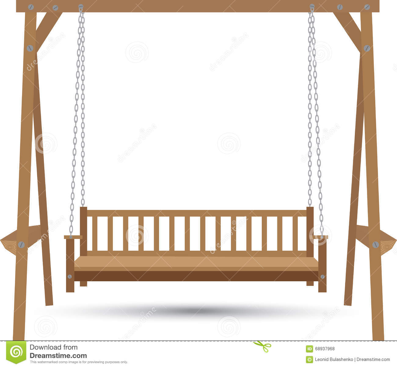 Wooden Bench Swing Stock Illustration Image 68937968