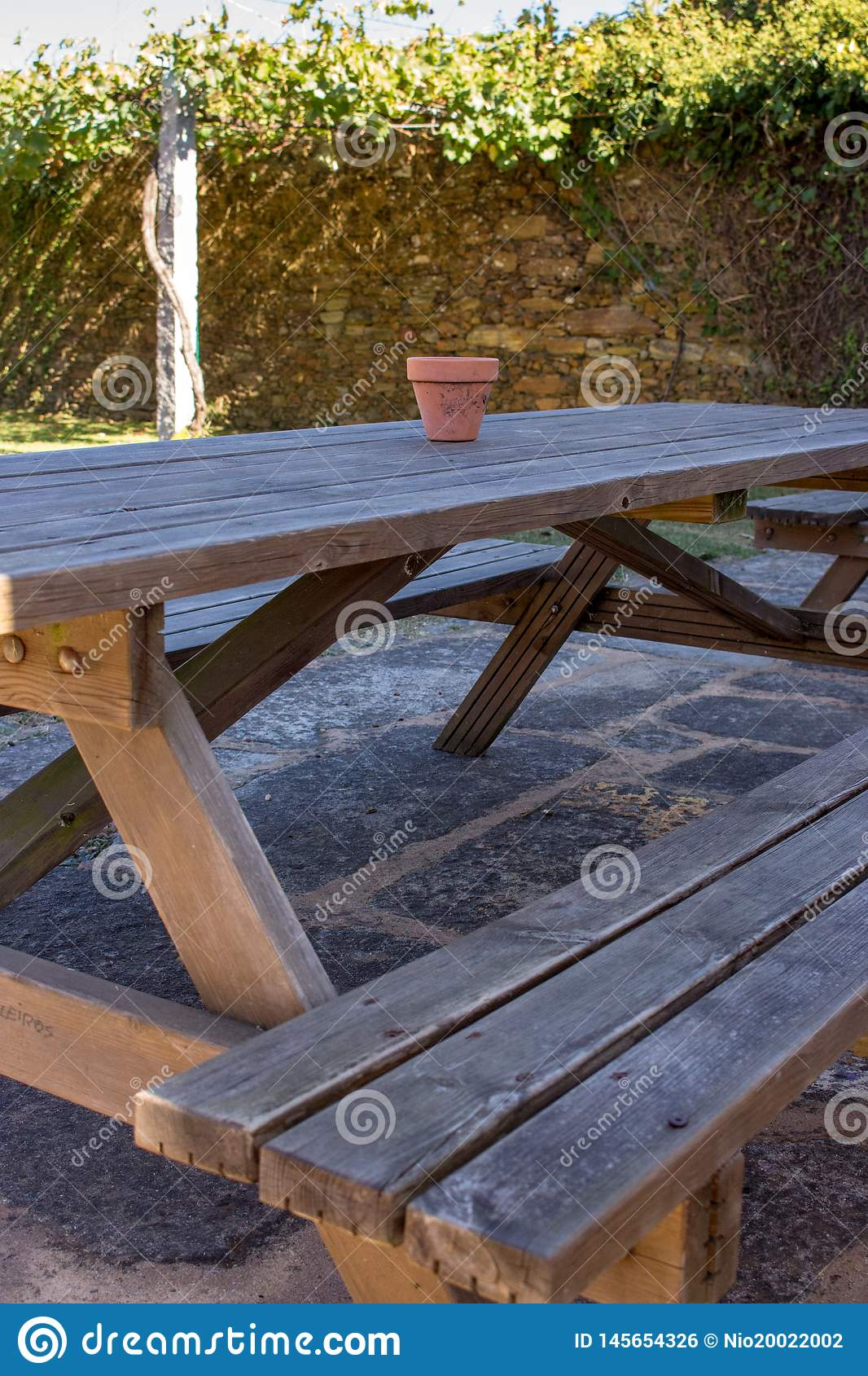Surprising Wooden Bench And Table In Backyard Picnic Table With Pot In Caraccident5 Cool Chair Designs And Ideas Caraccident5Info