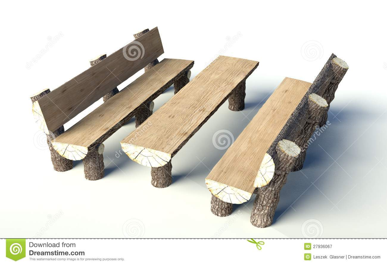 Wooden Bench And Table Made Of Tree Trunks Stock