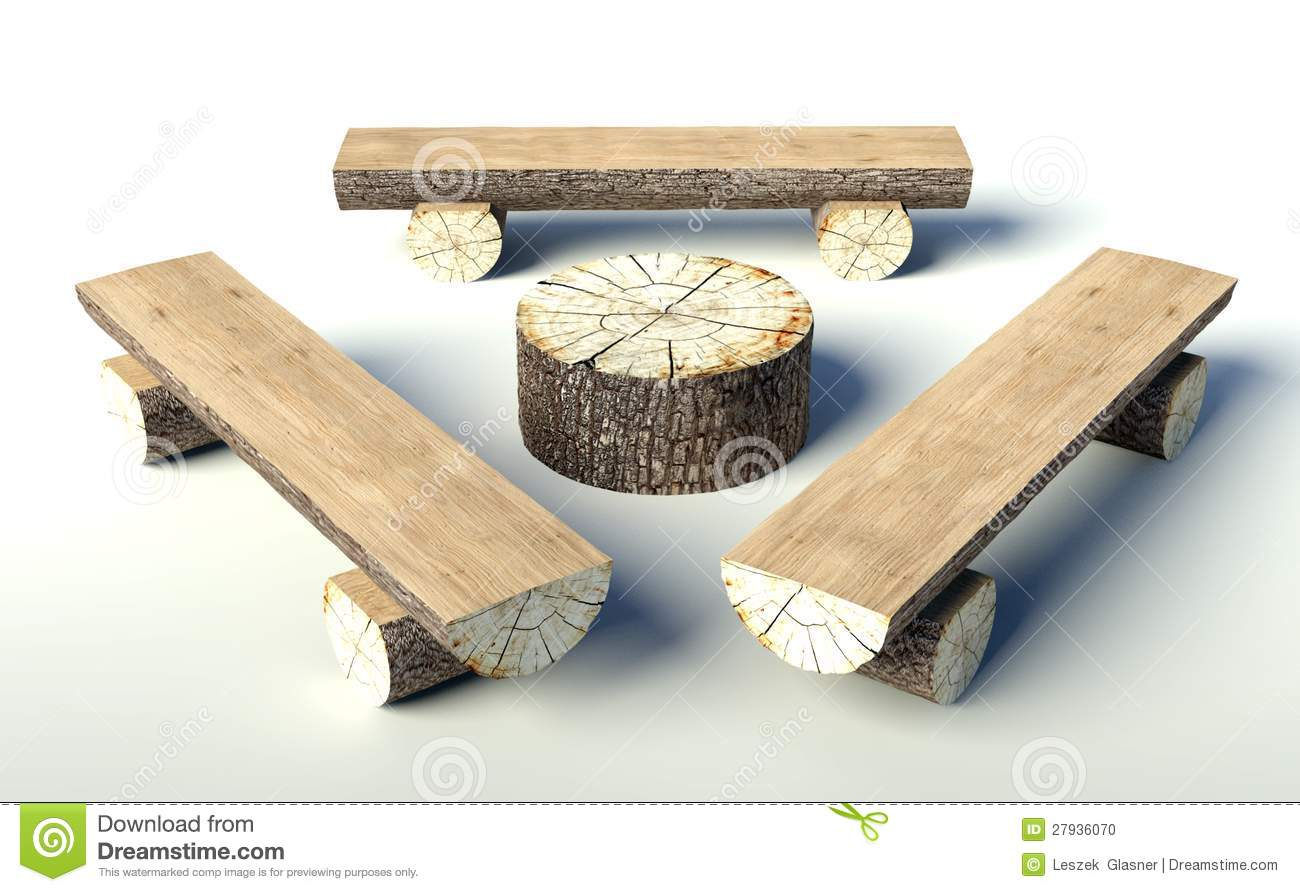 Wooden Bench And Table Made Of Tree Trunks Stock Photo - Image: 27936070
