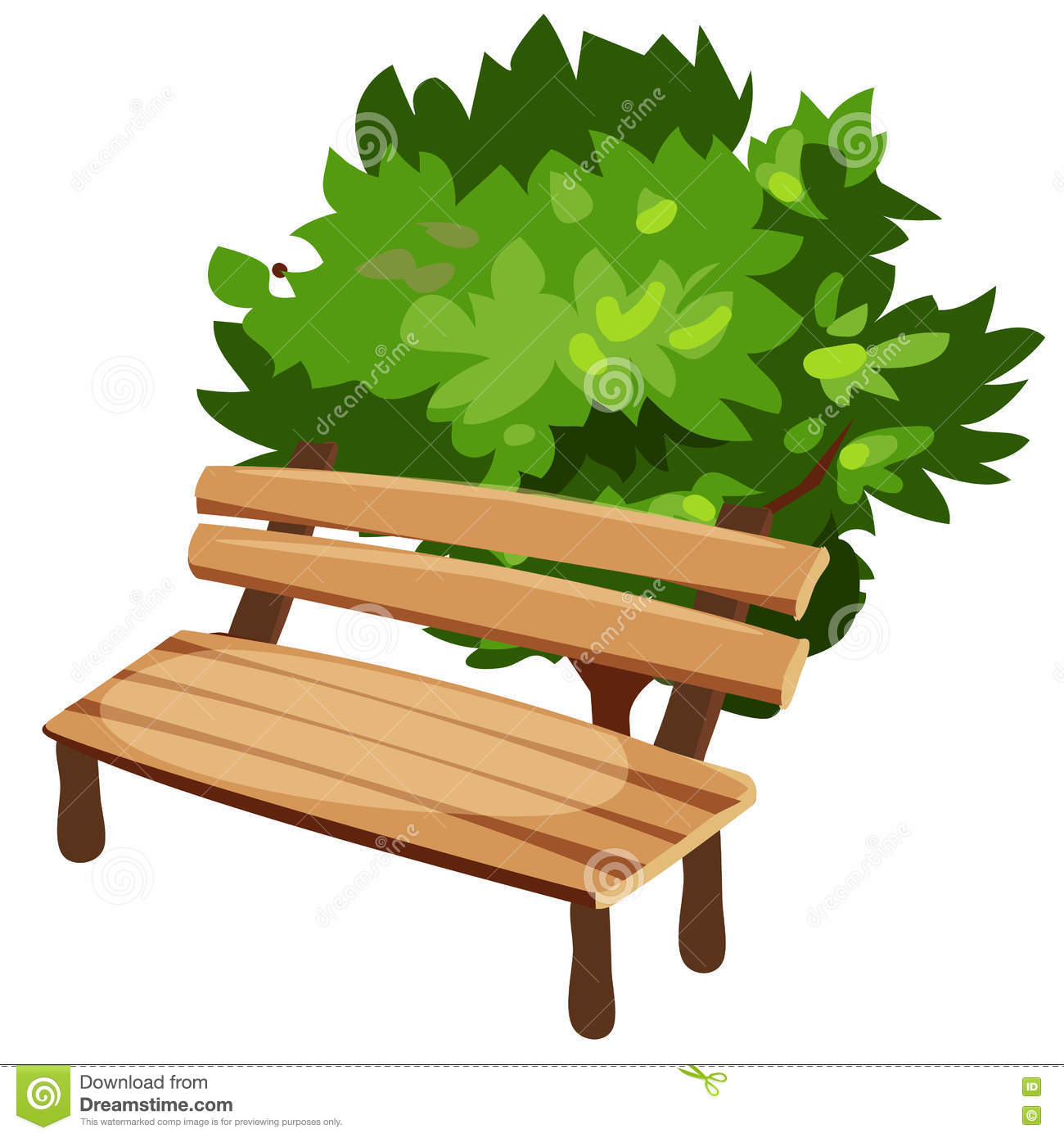 Wooden Bench And Tree, Cartoon Style Stock Vector - Image ...