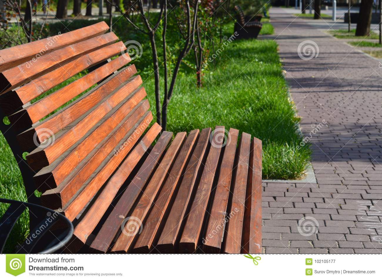 Awesome Wooden Benches In Square Stock Image Image Of Ceramic Spiritservingveterans Wood Chair Design Ideas Spiritservingveteransorg