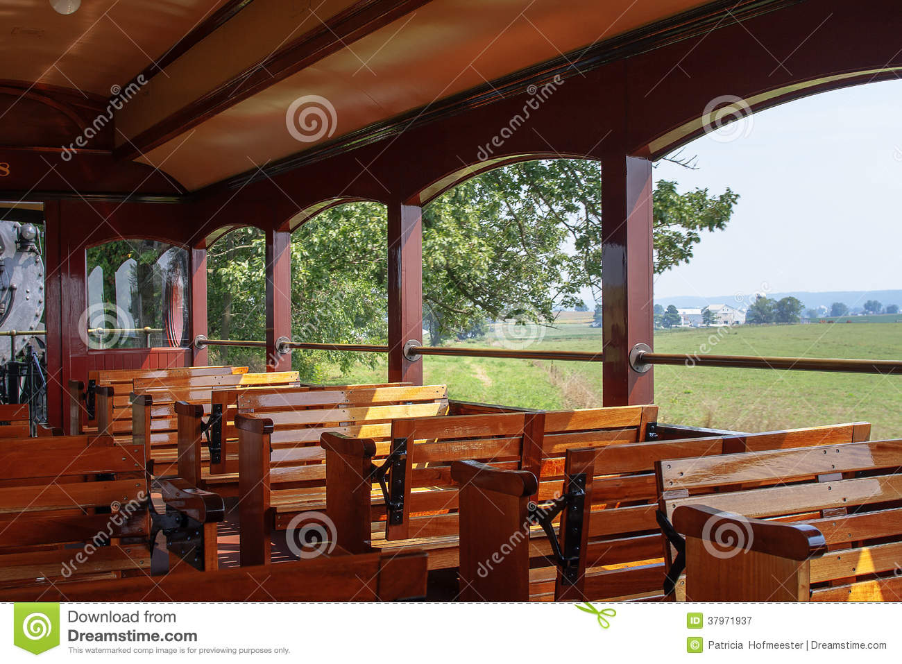 Wooden Benches Inside A Vintage Steam Train Editorial