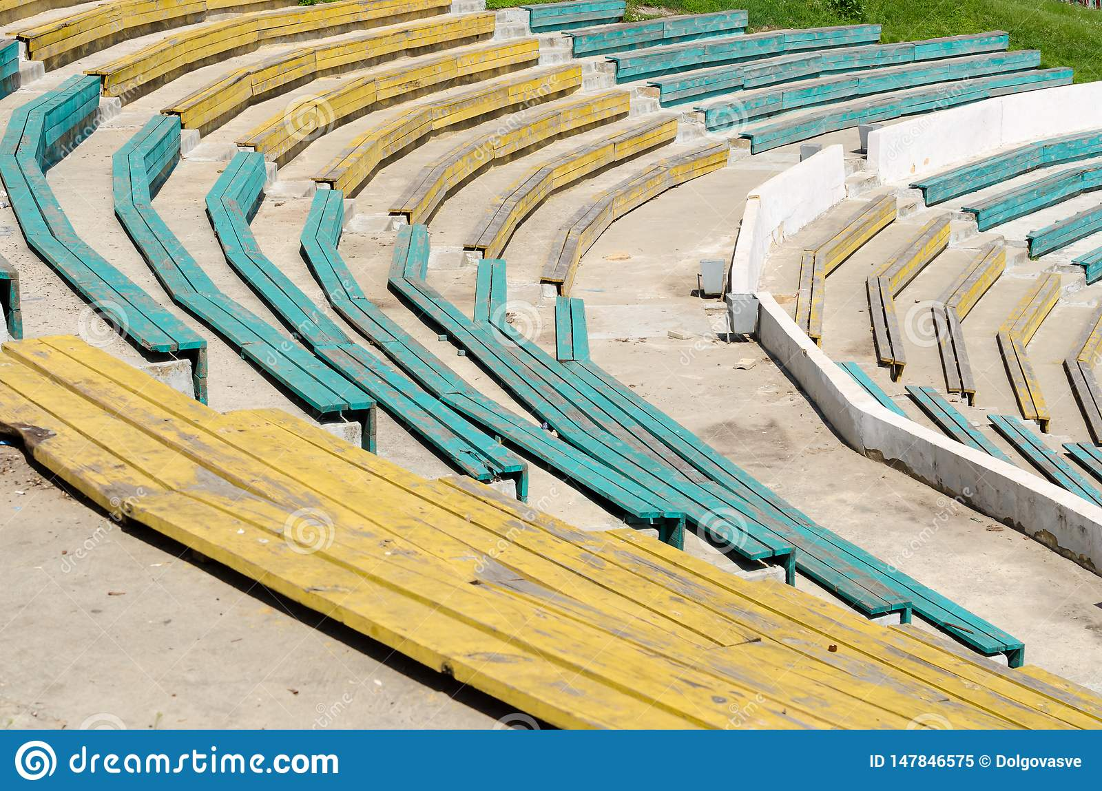 Wooden benches in outdoor theatre