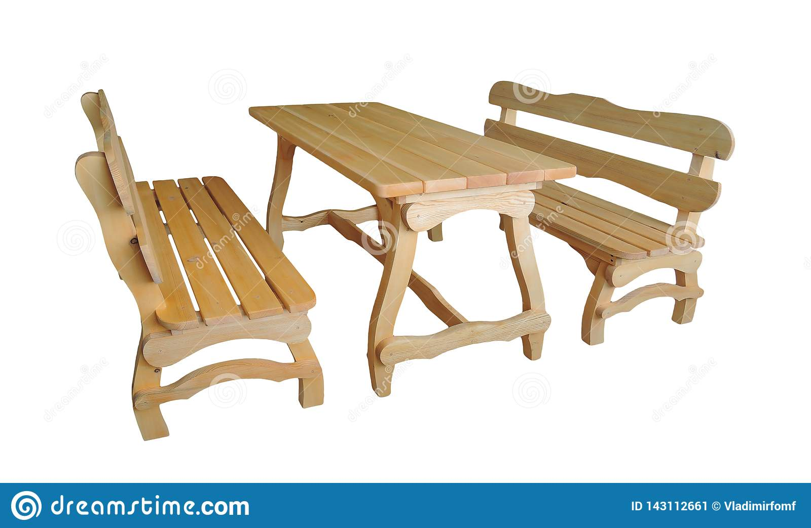 Wooden benches and table on white background. Garden furniture
