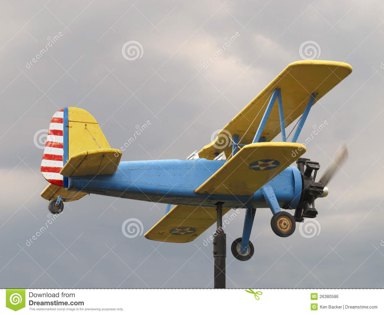Weathervanes >> Wooden Biplane Aircraft Weathervane Royalty Free Stock ...