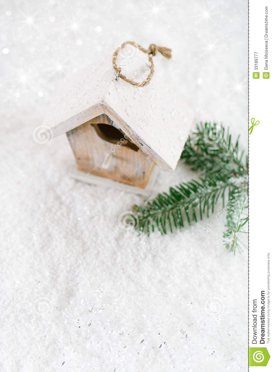 Wooden Bird House Christmas Decoration On White Snow Background ...