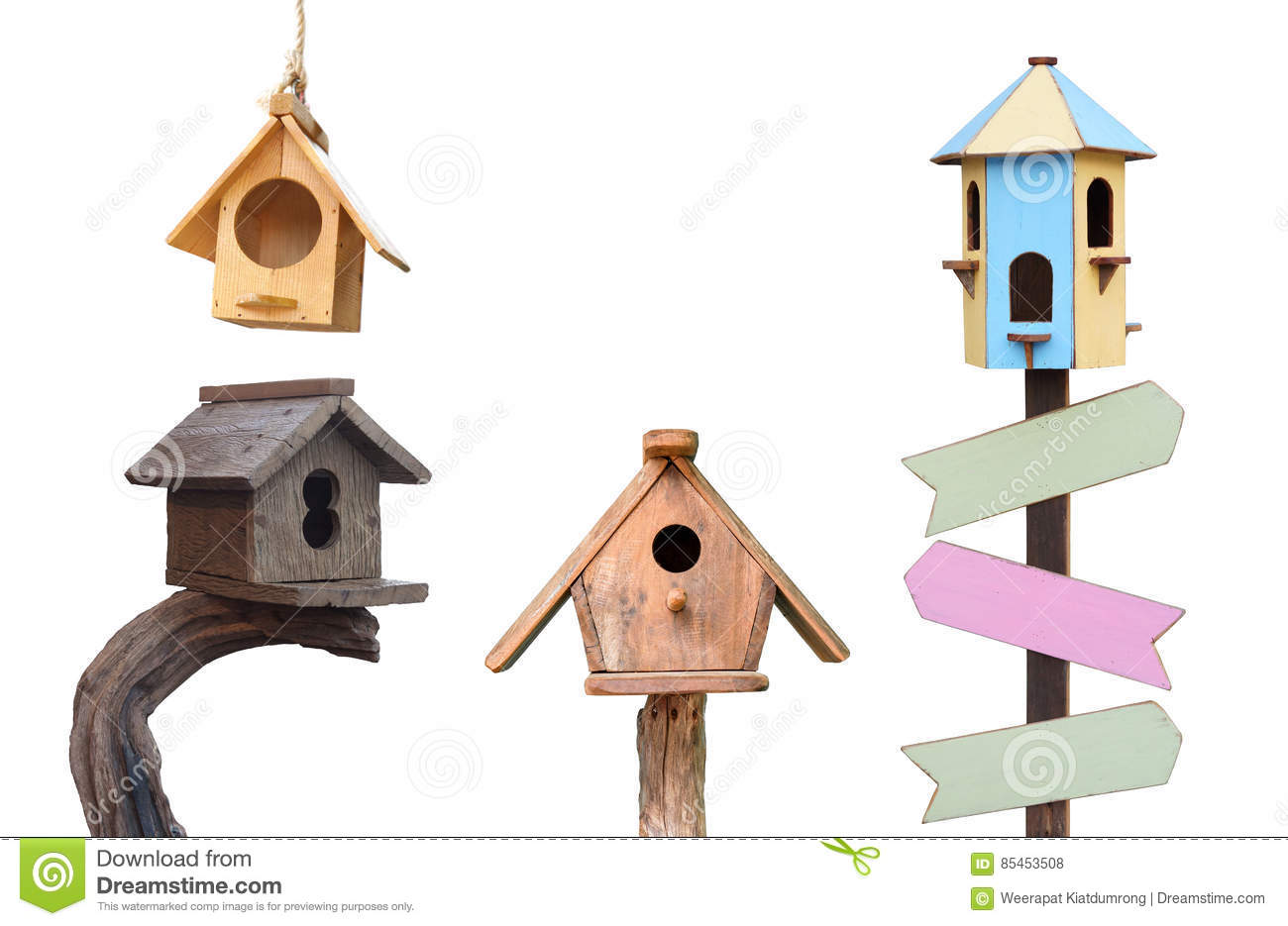 Wooden bird houses stock photo image of houses room for Different types of birdhouses