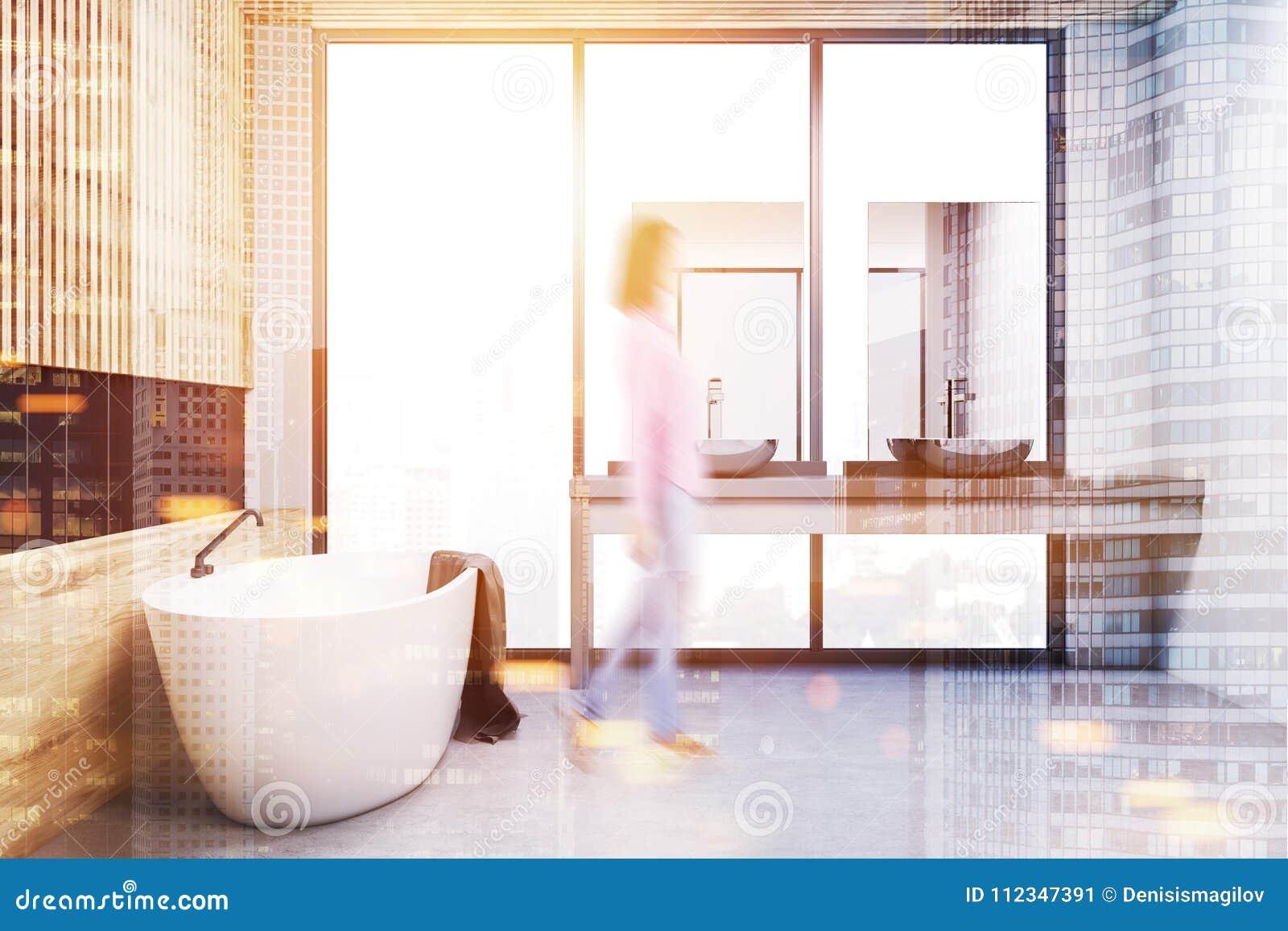 Wooden And Black Modern Bathroom, Side View Blur