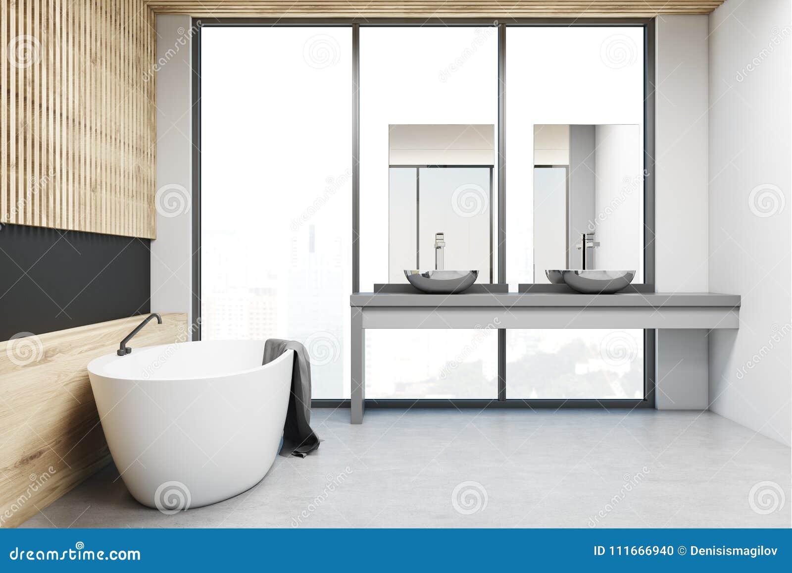 black modern bathroom toilet. Wooden And Black Modern Bathroom  Side View And Black Modern Bathroom Side View Stock Illustration