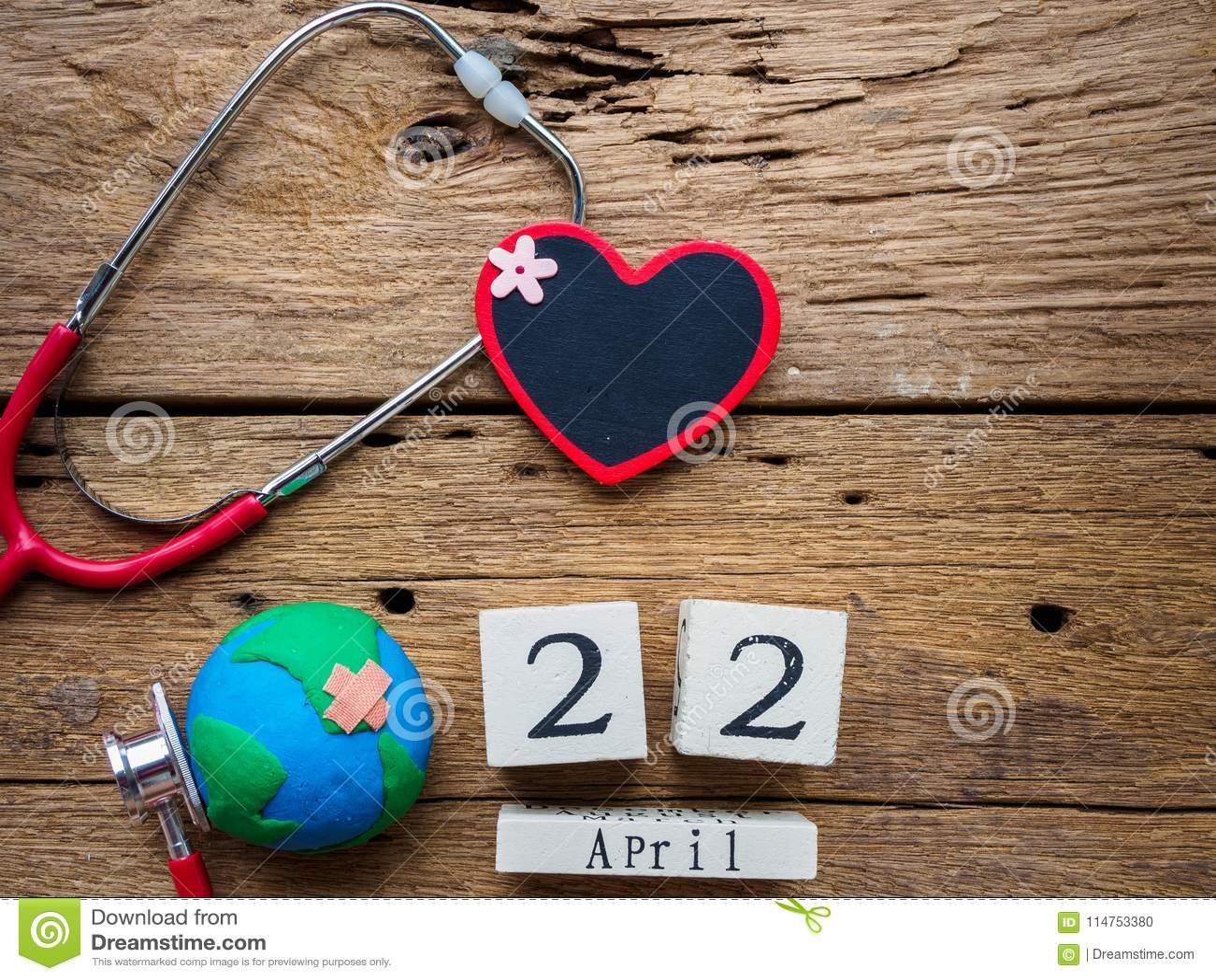 Wooden Block calendar for World Earth Day April 22, Stethoscope