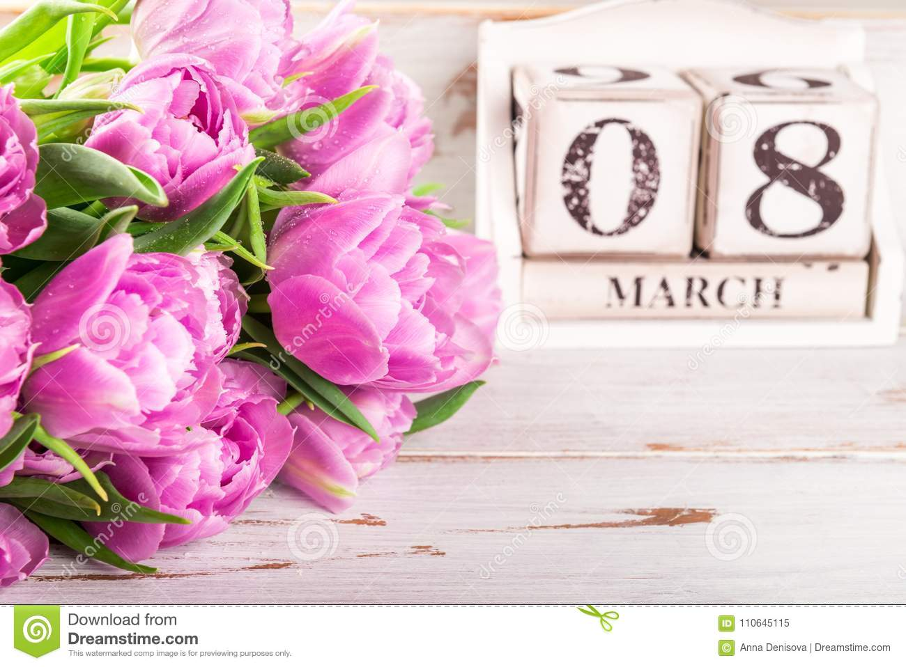 Wooden Block with International Womens Day Date, 8 March