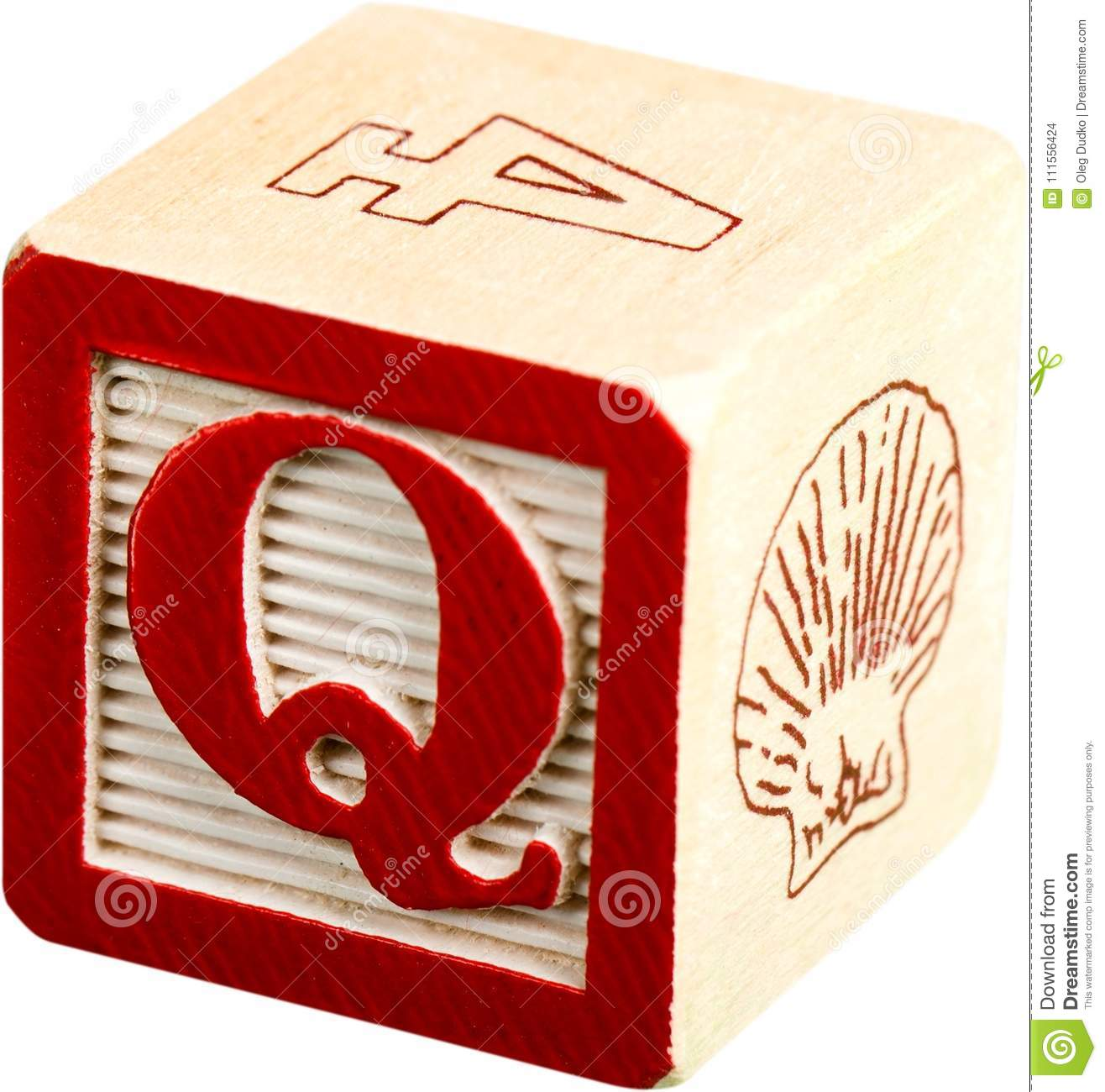 Wooden Letter Block With Letter Q