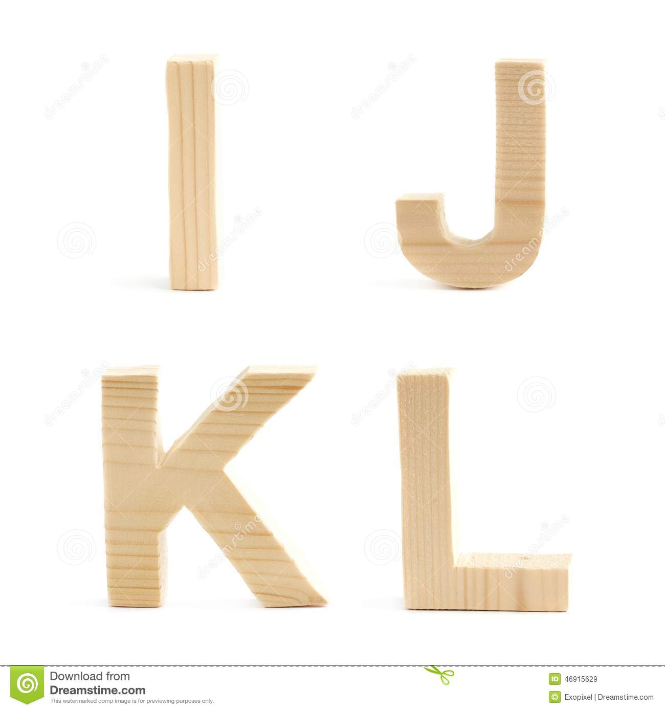 Wooden block letter set isolated stock photo image 46915629 for Kitchen set letter l