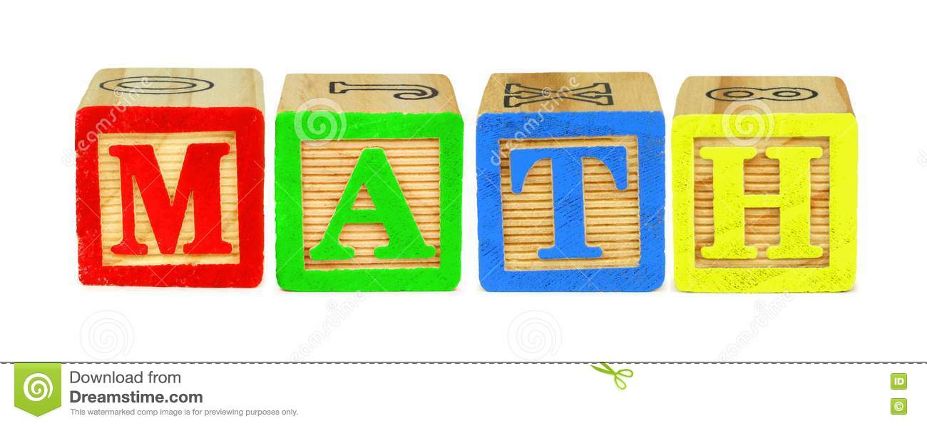 wooden block letters spelling math over white