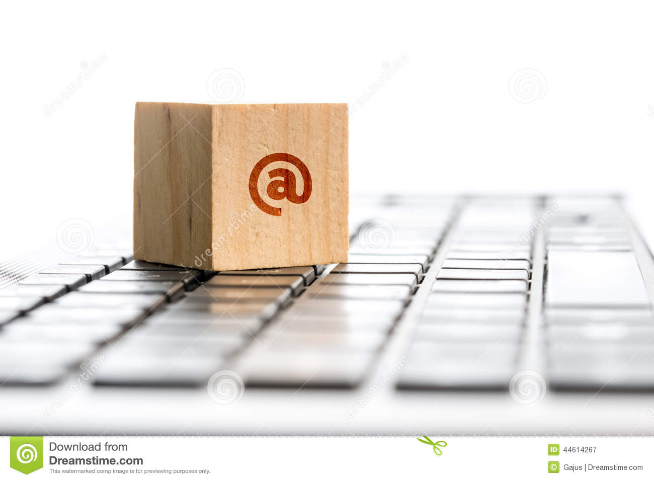 Wooden Block With At Symbol On Computer Keyboard Stock Image Image