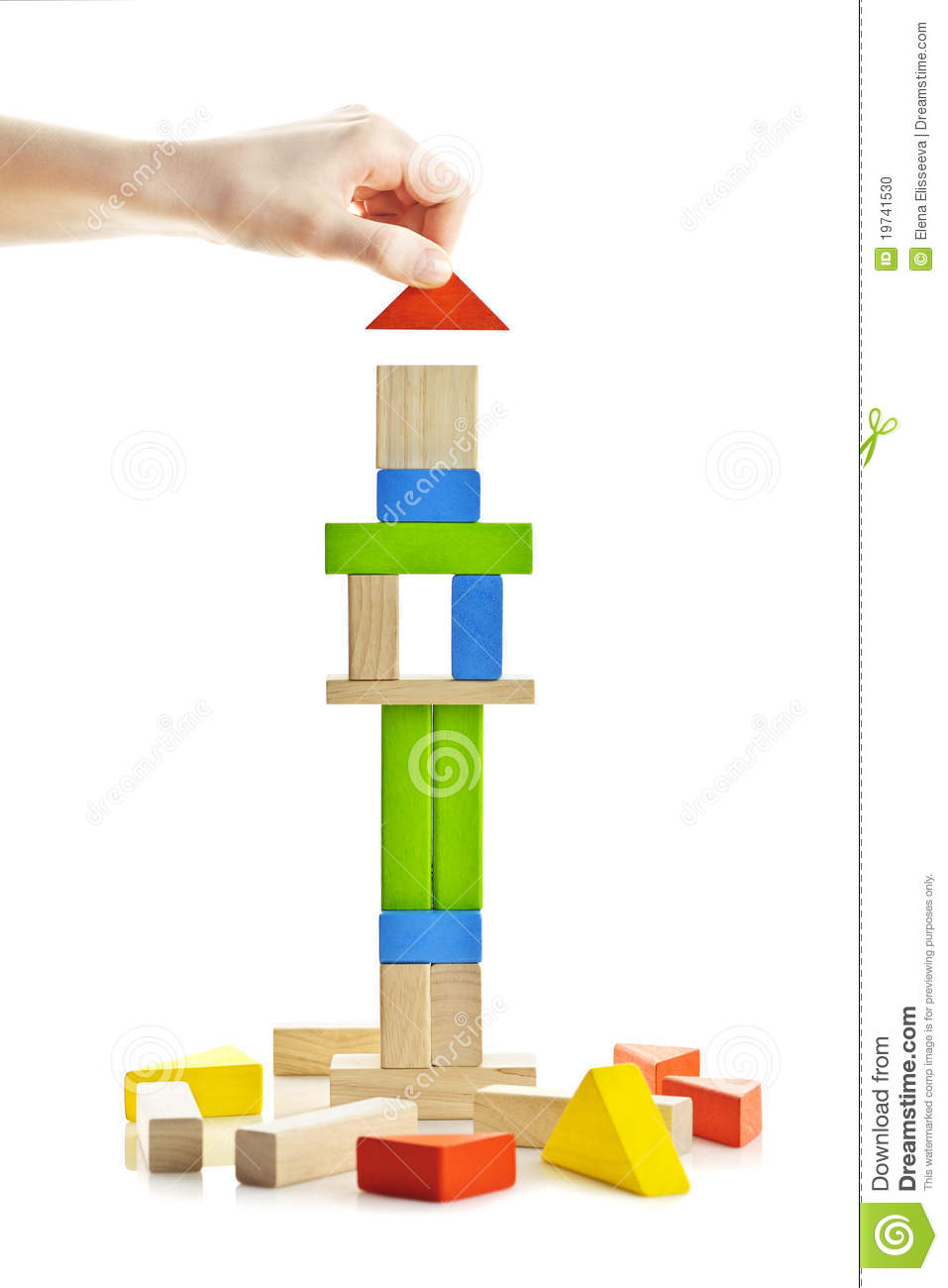Wooden Block Tower Under Construction Stock Photo Image