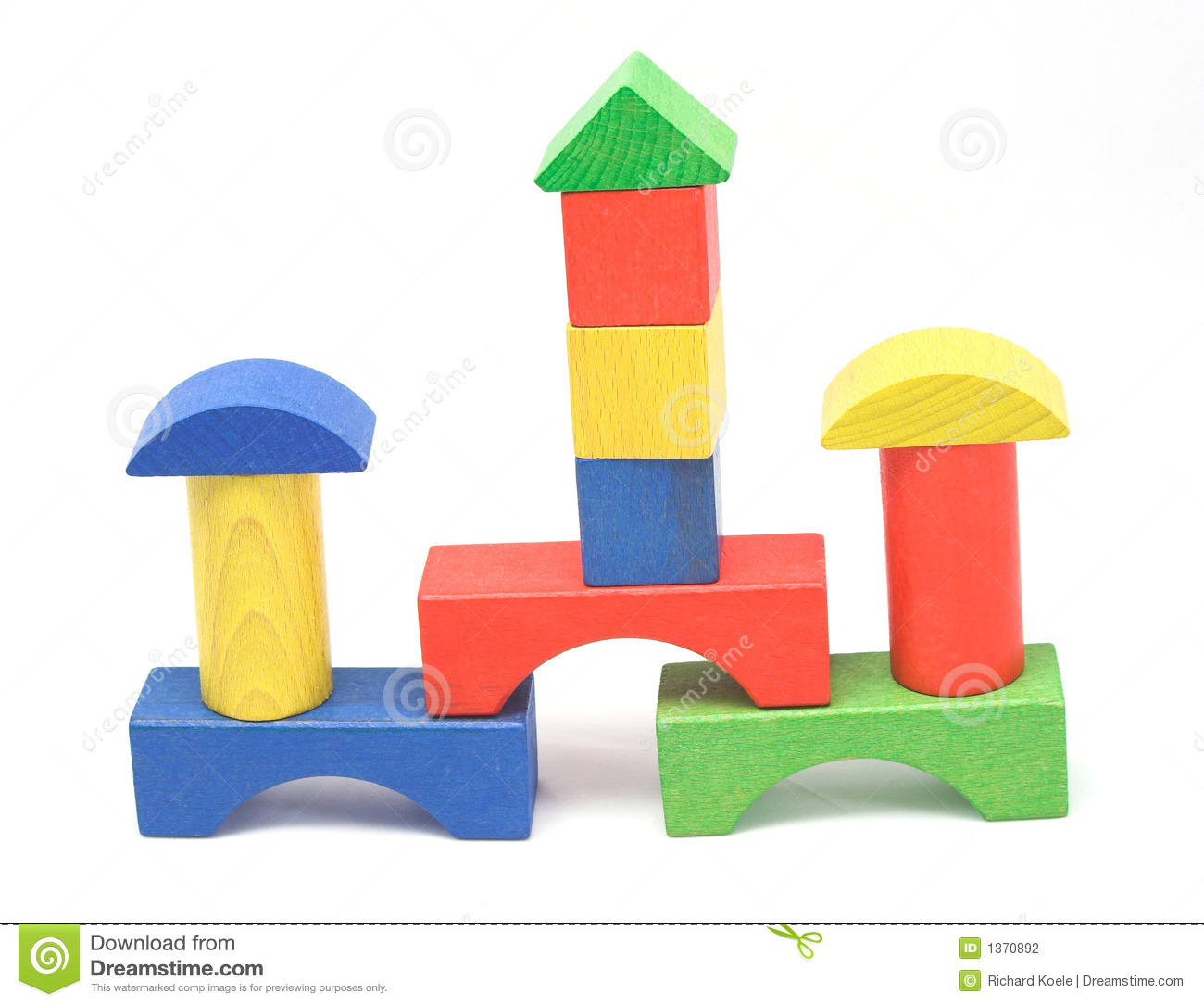 Wooden Block Towers Stock Photography - Image: 1370892