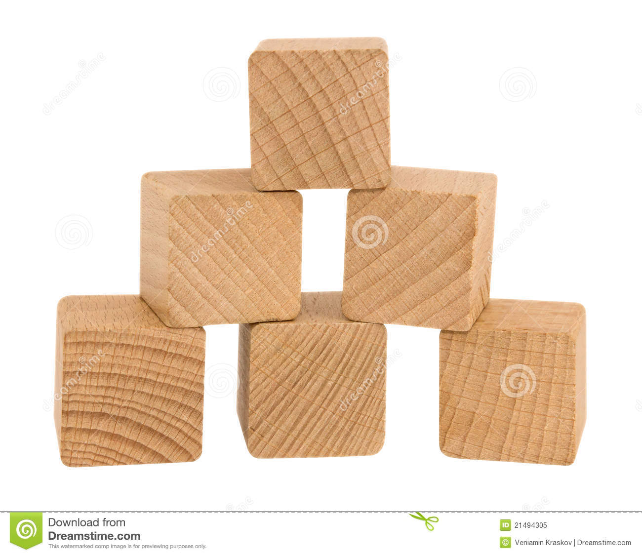 Wooden toy blocks isolated on white background. Clipping path included ...