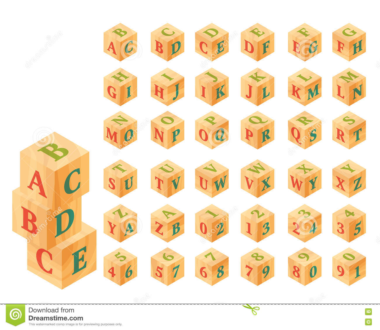 Wooden Blocks With Letters And Numbers Alphabet Stock Vector