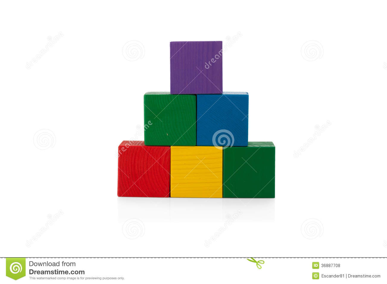 Wooden Blocks, Pyramid Of Colorful Cubes, Childrens Toy Isolated ...