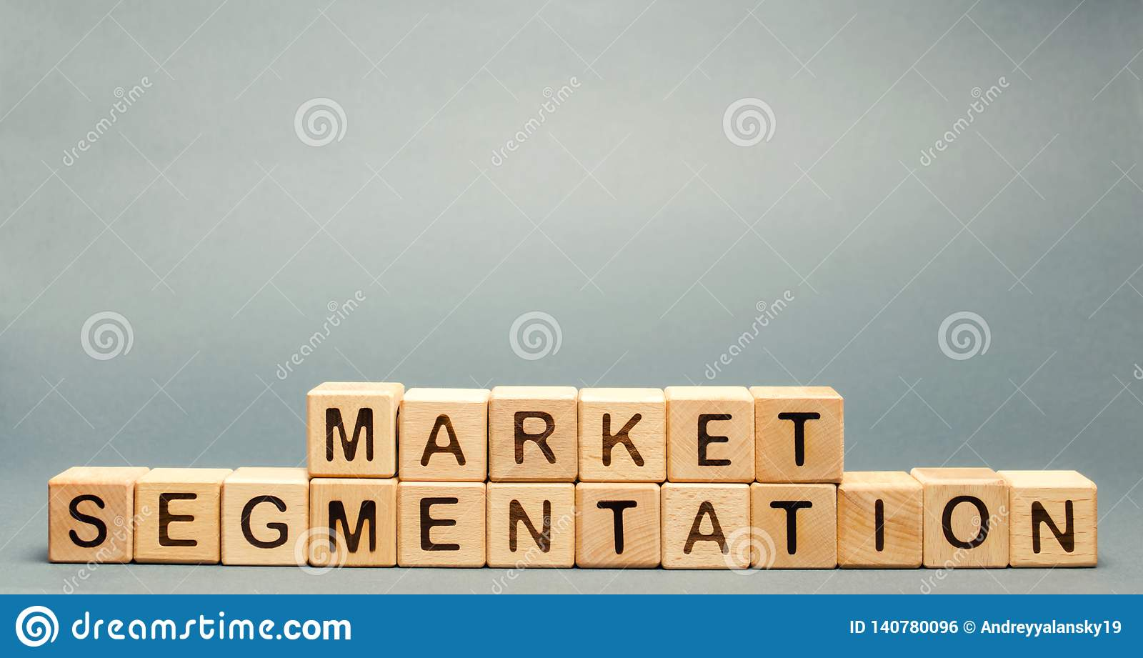 Wooden blocks with the word Market Segmentation. Target audience, customer care concept. Market group of buyers. Customer analysis