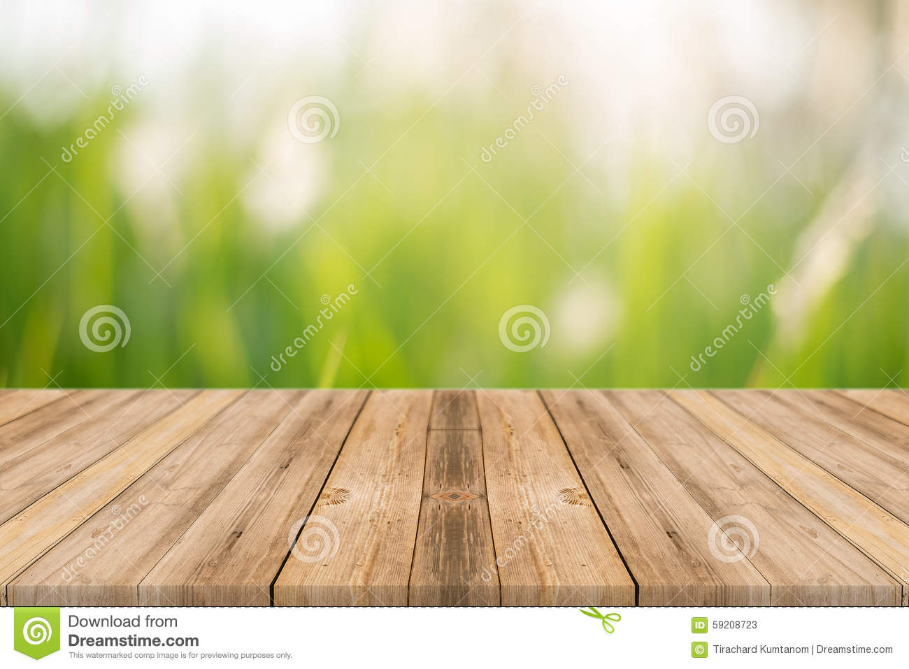 Wooden board empty table blur trees in forest background.