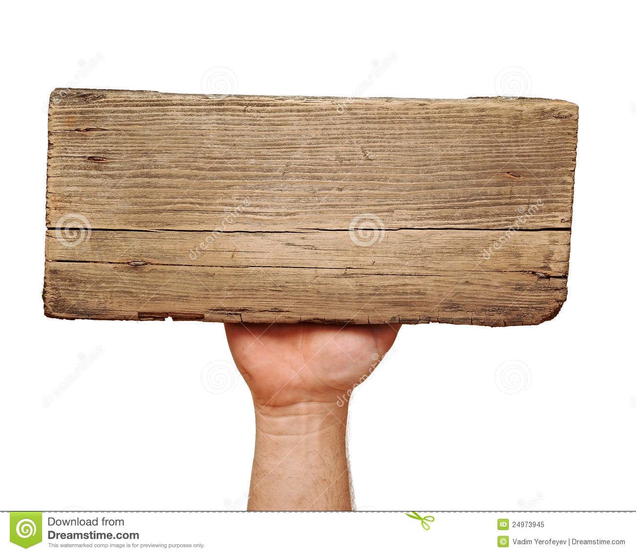 Wooden board sign on hand royalty free stock photo image