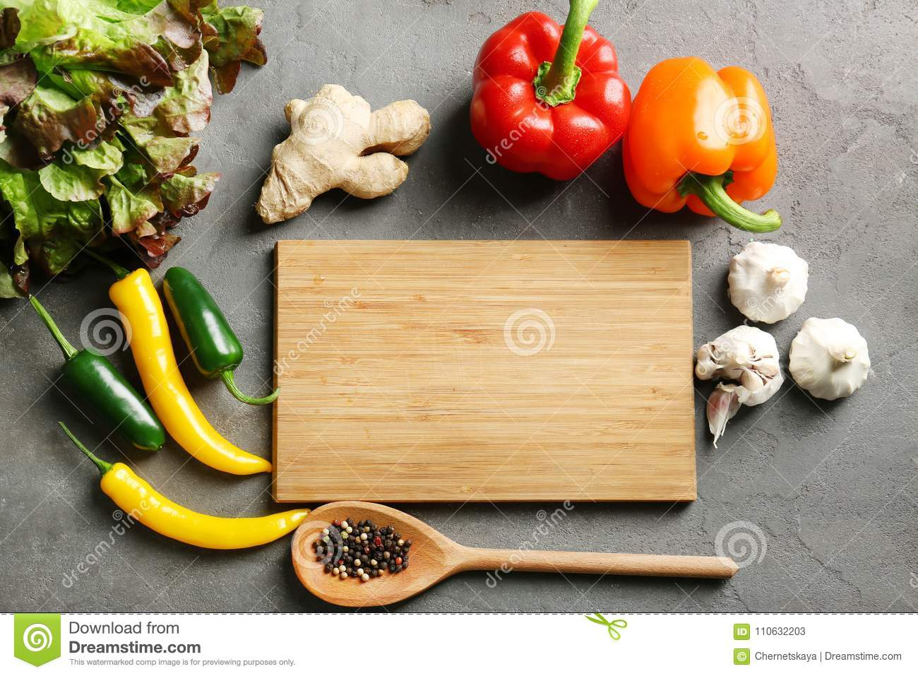 Wooden Board And Vegetables. Cooking Classes Concept Stock ...
