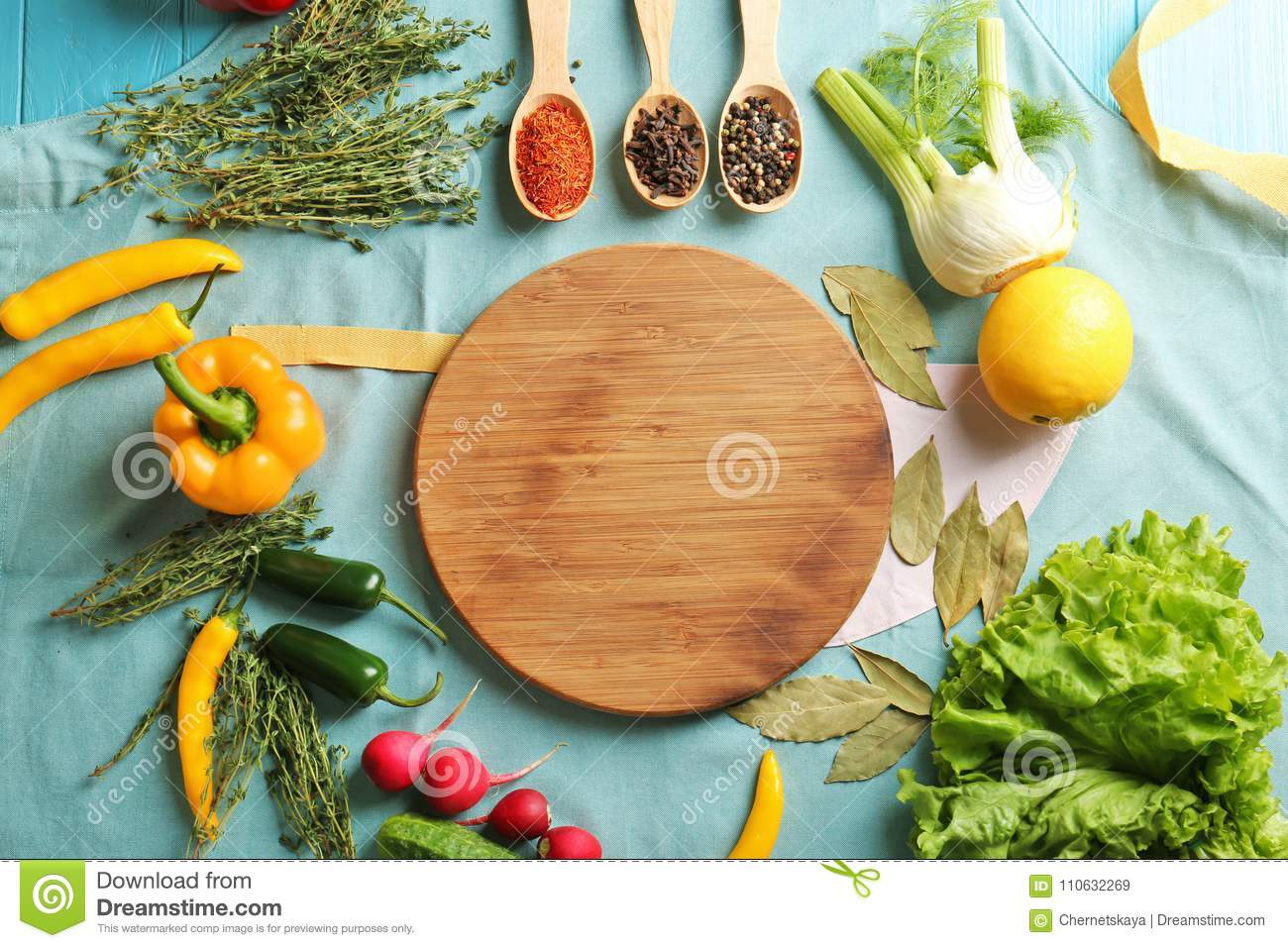 Wooden Board With Vegetables And Spices On Kitchen Table ...