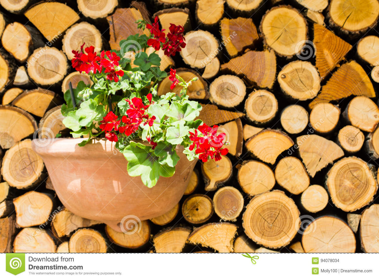 Wooden board, wooden pile with flowers, decoration