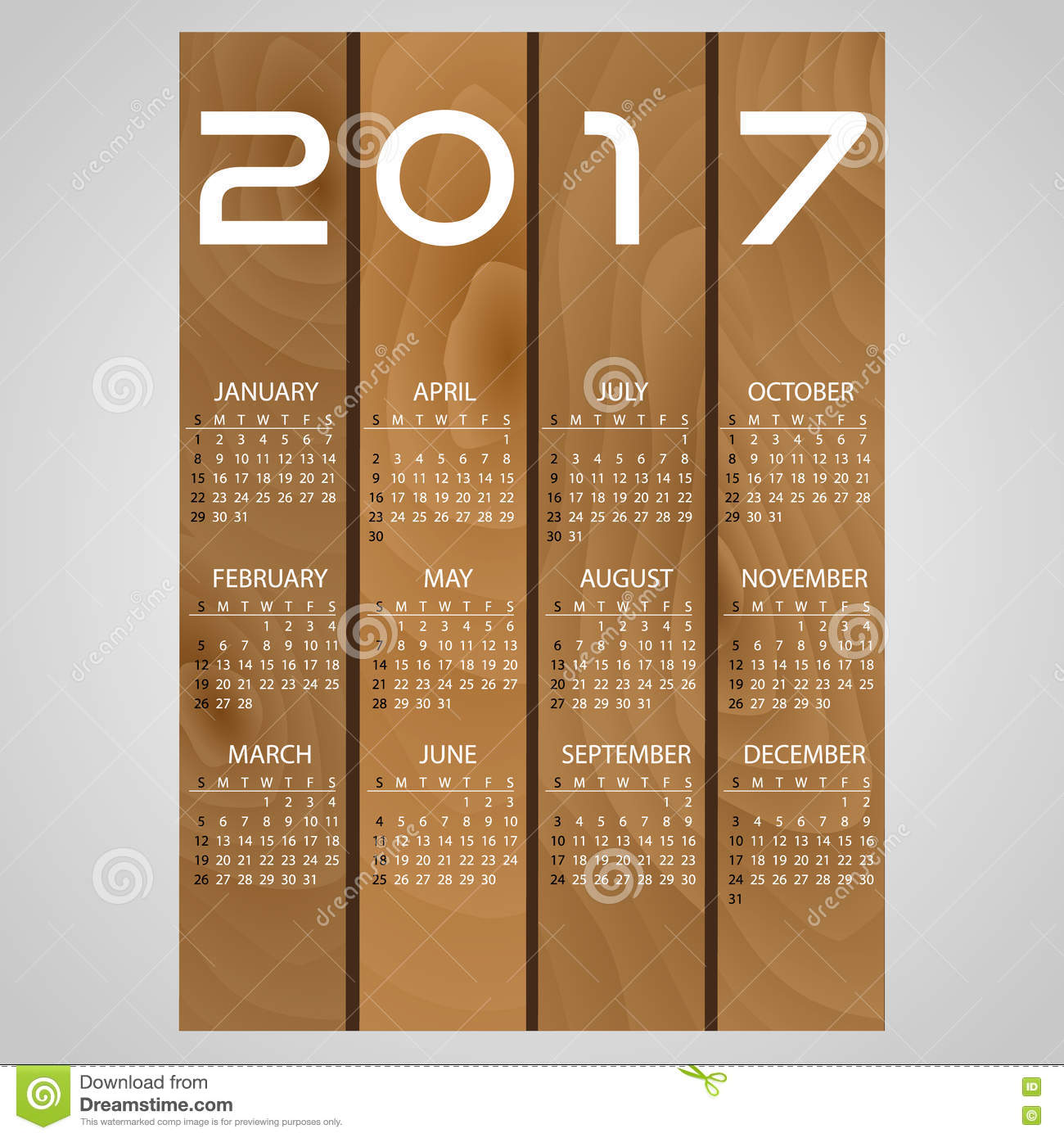 Calendar Illustration Board : Wooden boards wall calendar with white eps stock