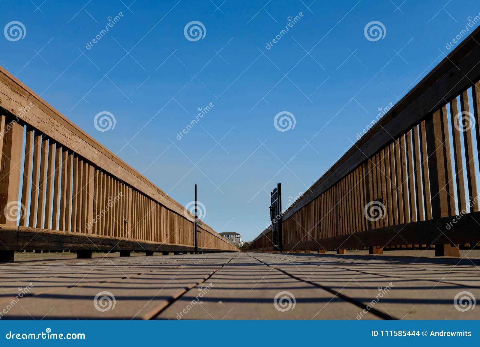 Wooden Boardwalk Ground Level Perspective to Vanishing Point