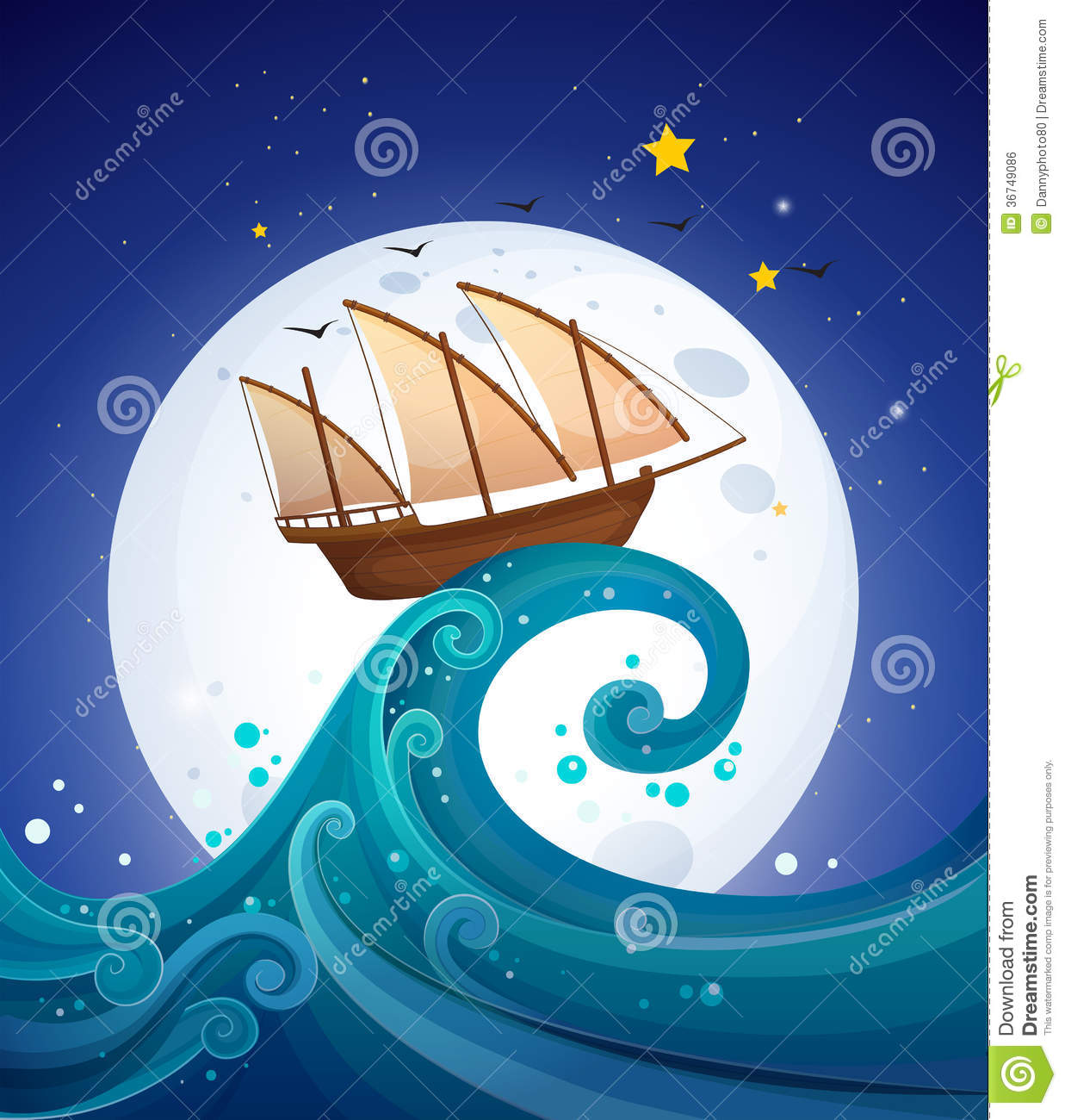 A Wooden Boat Above The High Wave Stock Illustration ...