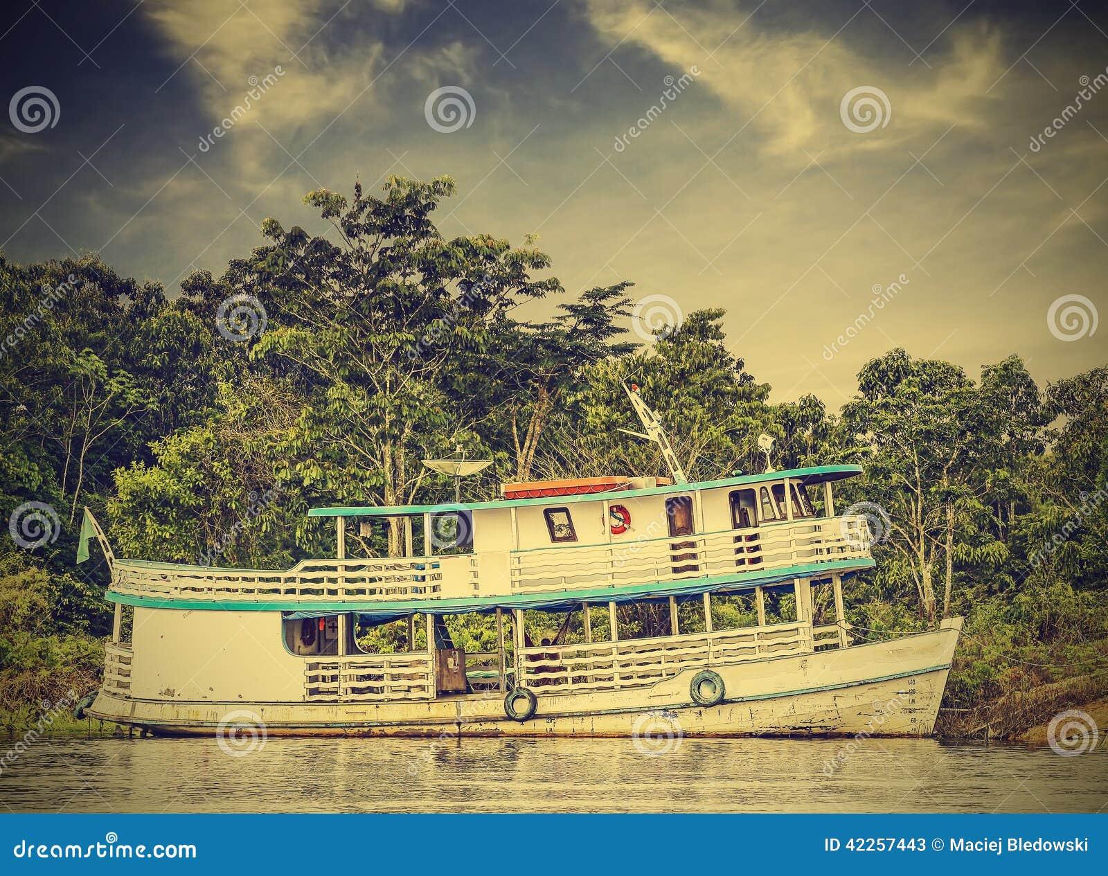 Wooden Boat On The Amazon River, Brazil, Vintage Retro ...