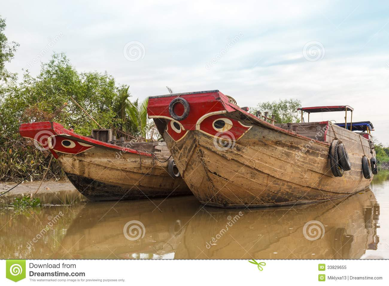 Wooden Boat Barge, River, Vietnam Royalty Free Stock Photo ...