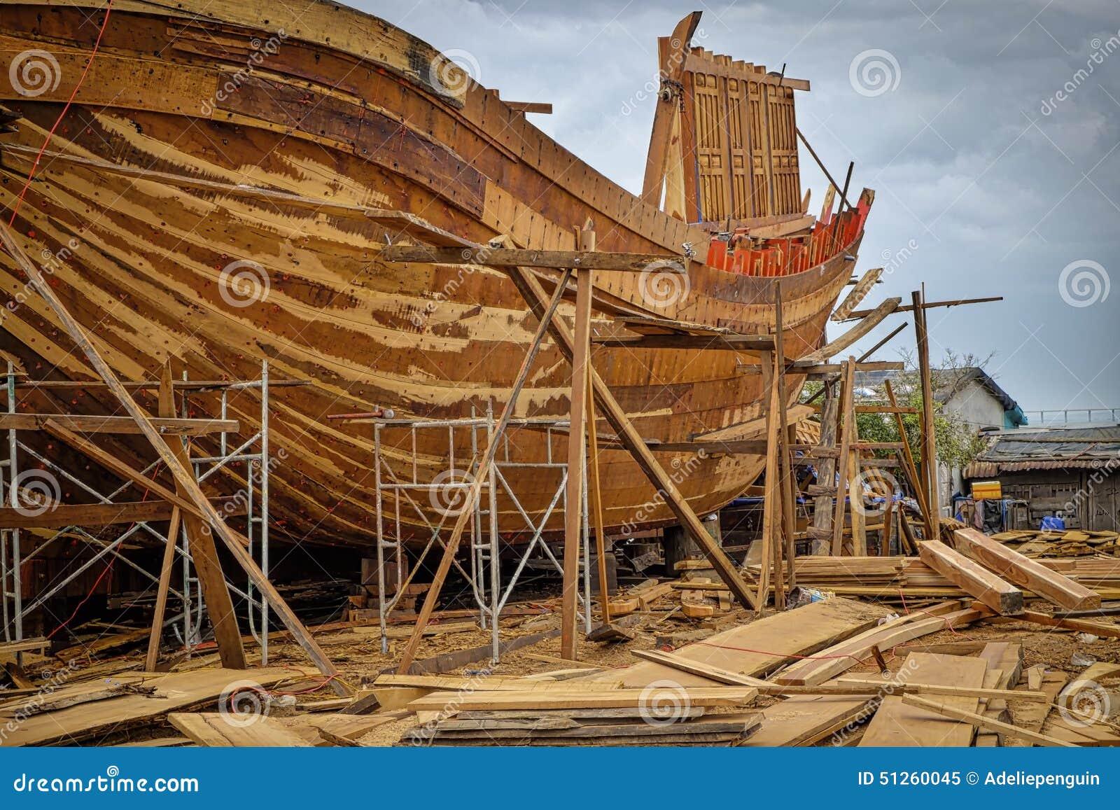 Wooden Boat Building, Qui Nhon, Vietnam Stock Image - Image: 51260045