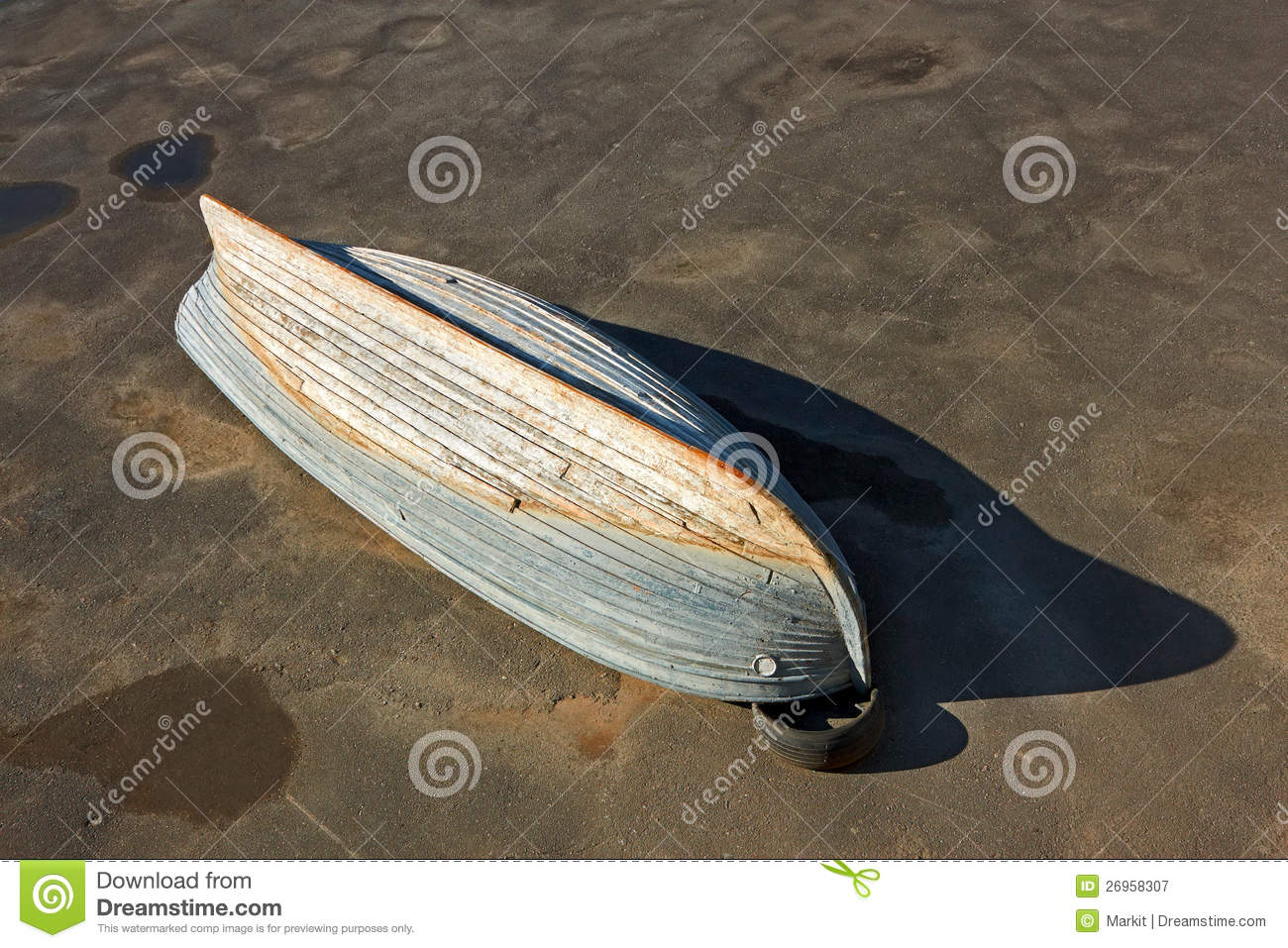 Wooden Boat Inverted Bottom Up Royalty Free Stock ...